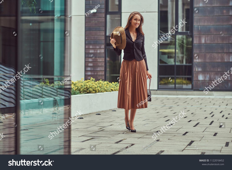 Happy fashion elegant woman wearing black stock photo edit now