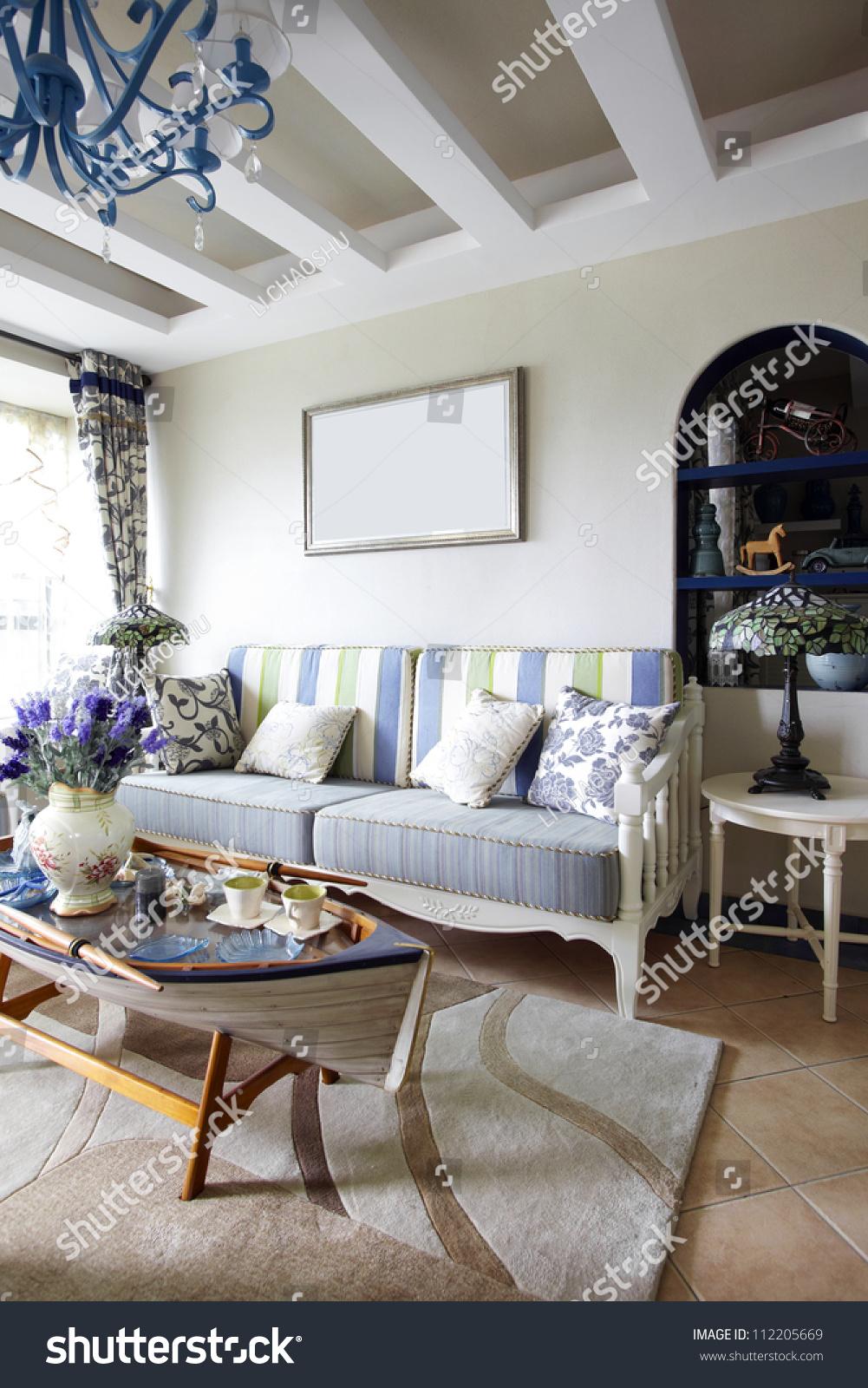 Mediterranean style living room stock photo 112205669 shutterstock for Mediterranean inspired living room