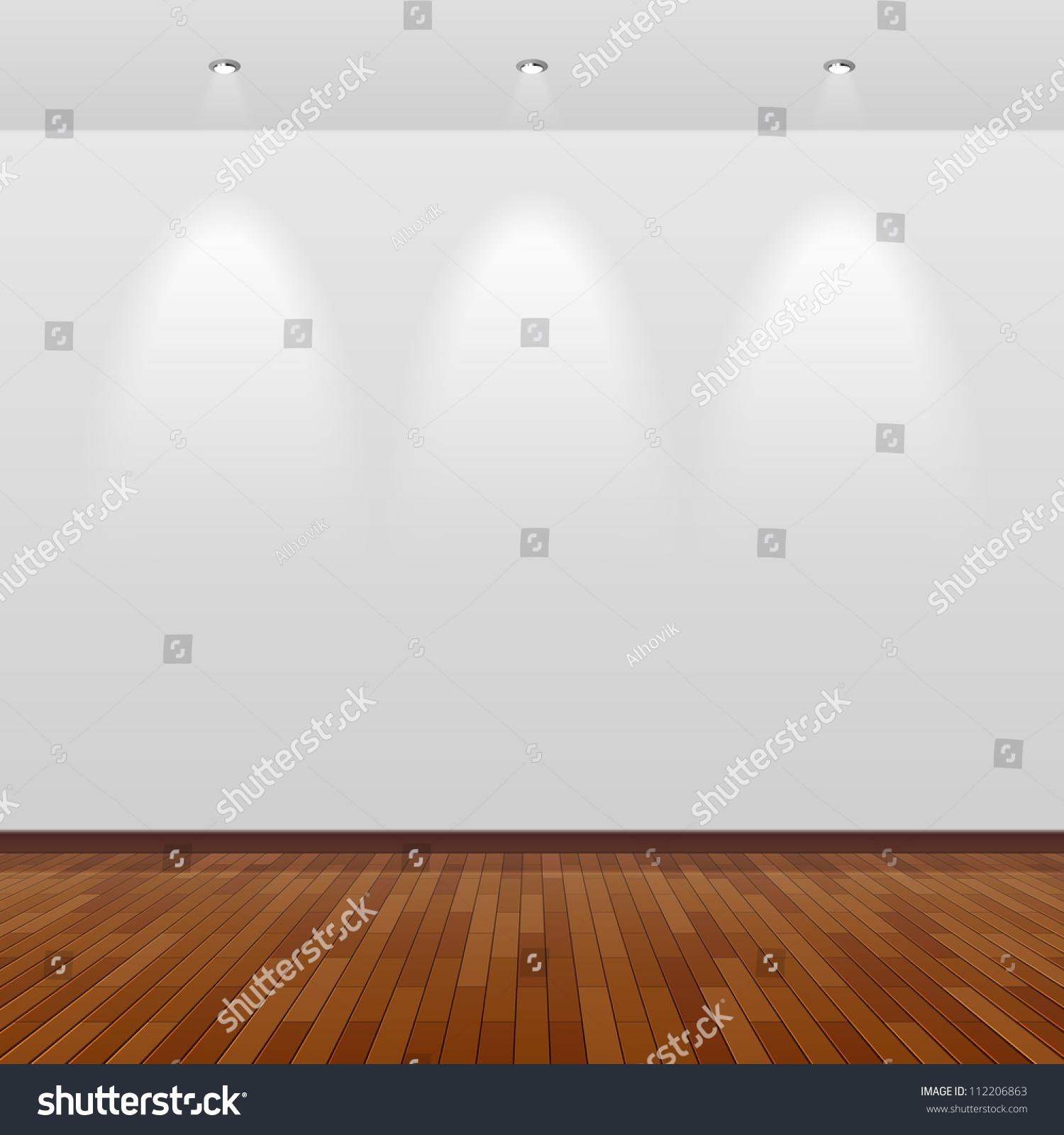 Empty Room White Wall Wooden Floor Stock Vector 112206863