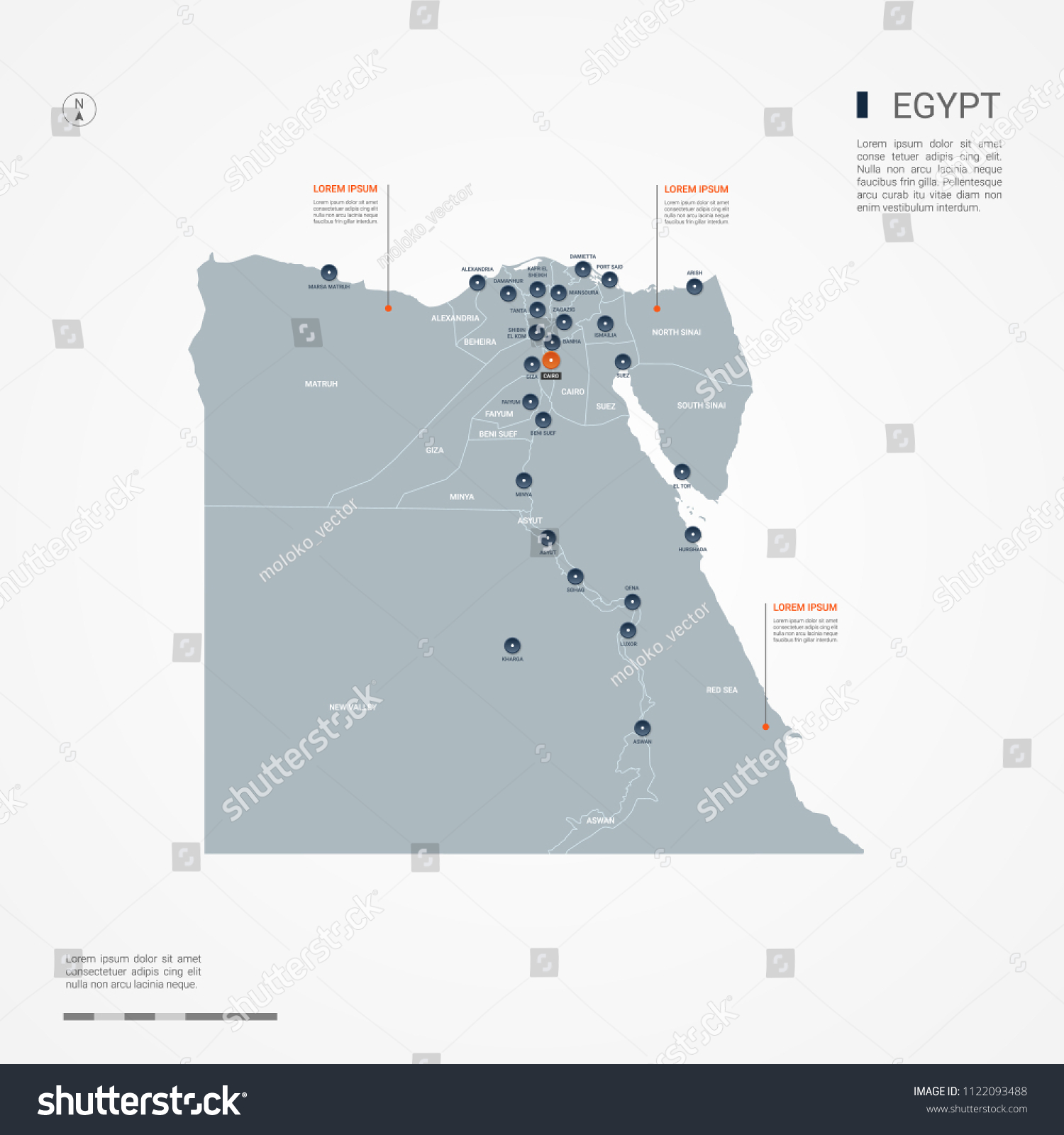 Egypt Map Borders Cities Capital Cairo Stock Vector (Royalty Free ...