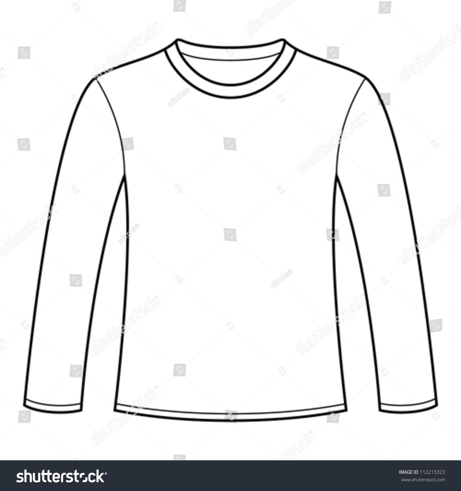 longsleeved tshirt template stock vector 112215323 shutterstock. Black Bedroom Furniture Sets. Home Design Ideas