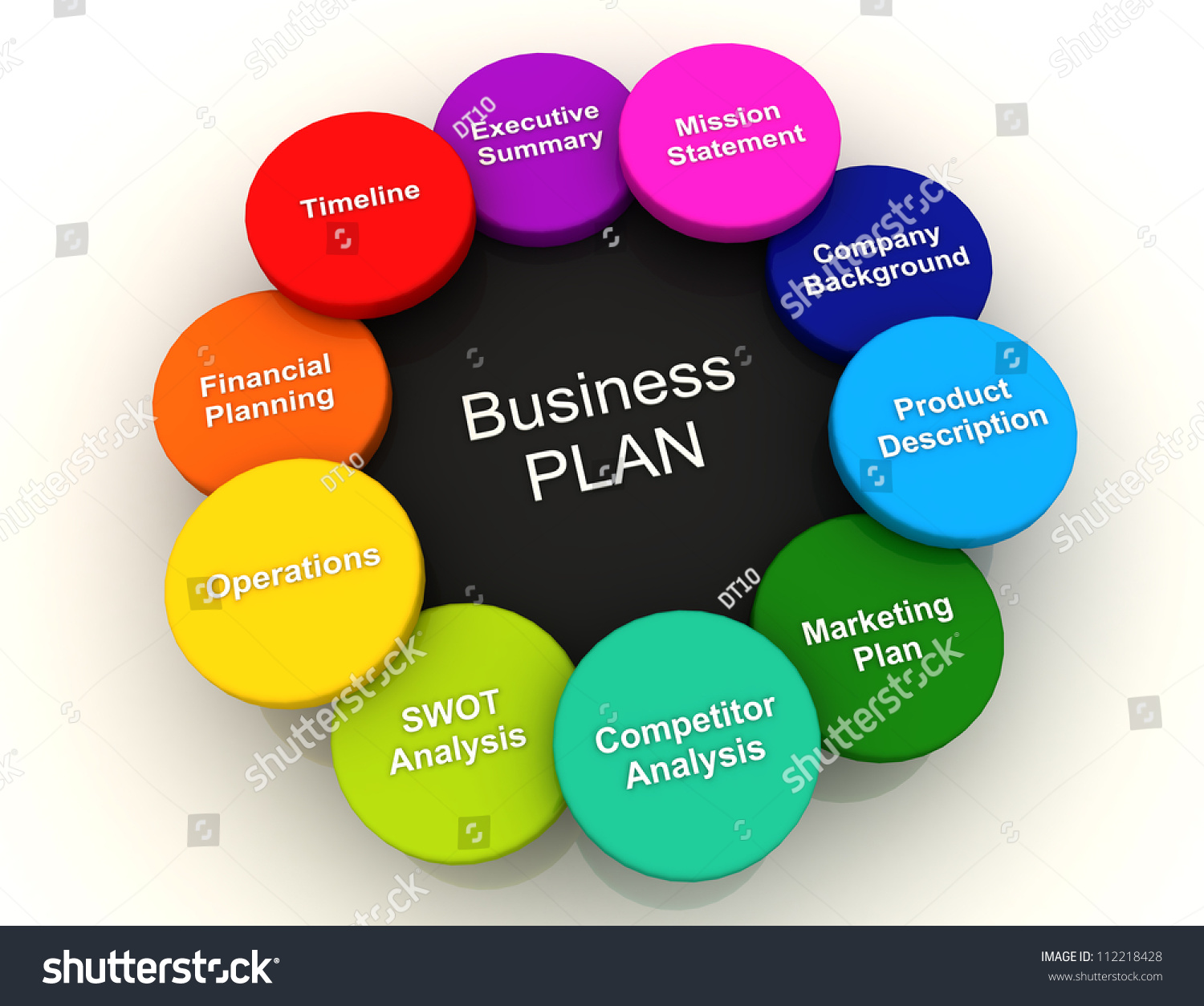 3 d business plan circle color chartのイラスト素材 112218428
