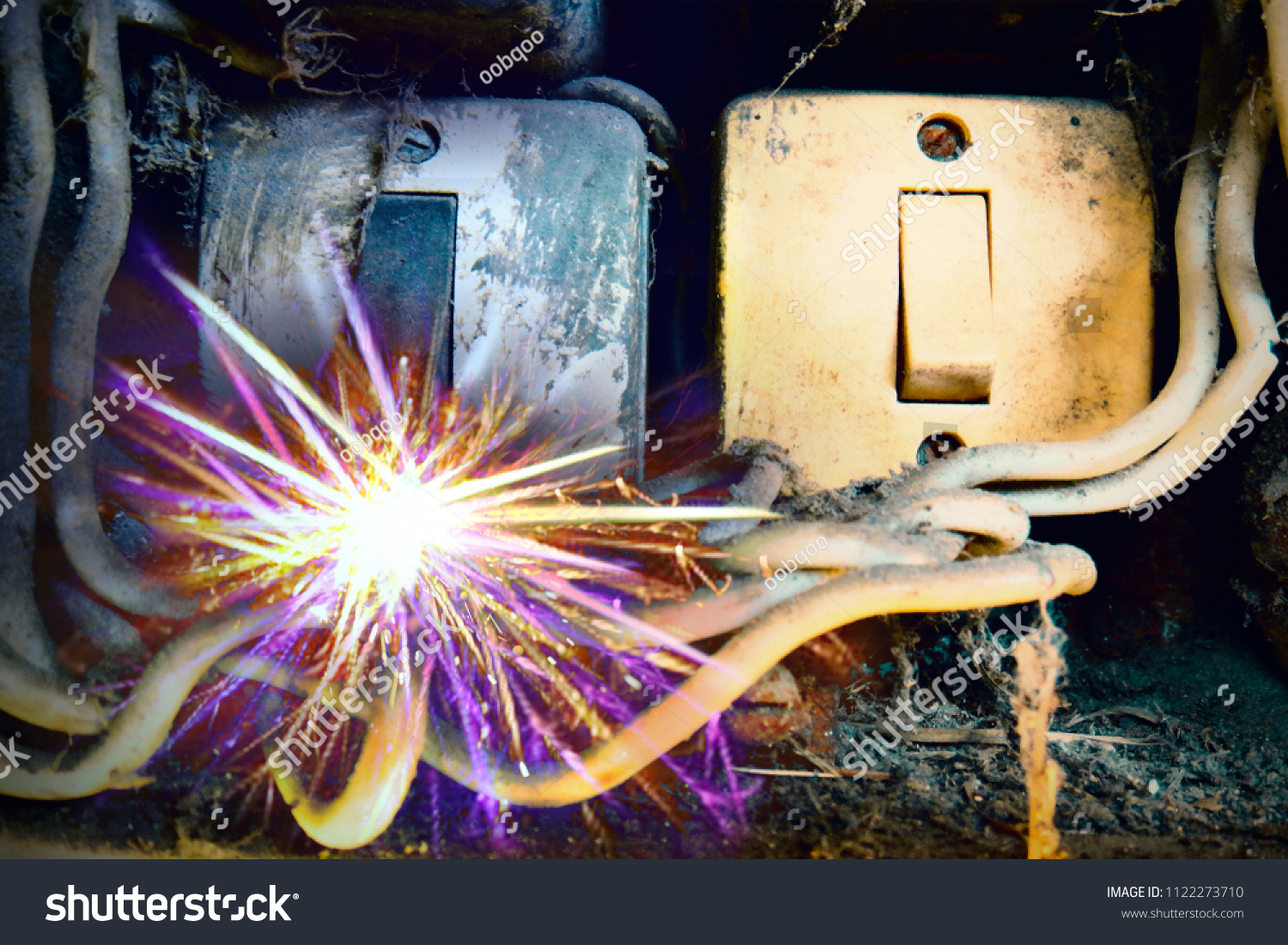 Old Electric Power Supply Boxes Industrial Stock Photo Edit Now Electrical Fuse Background Overloaded Circuit Causing To Break