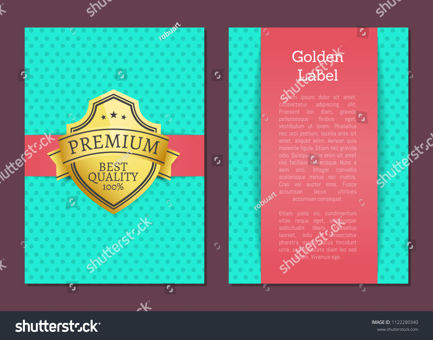 Golden label quality award premium brand 100 guarantee seal with text samples warranty sticker