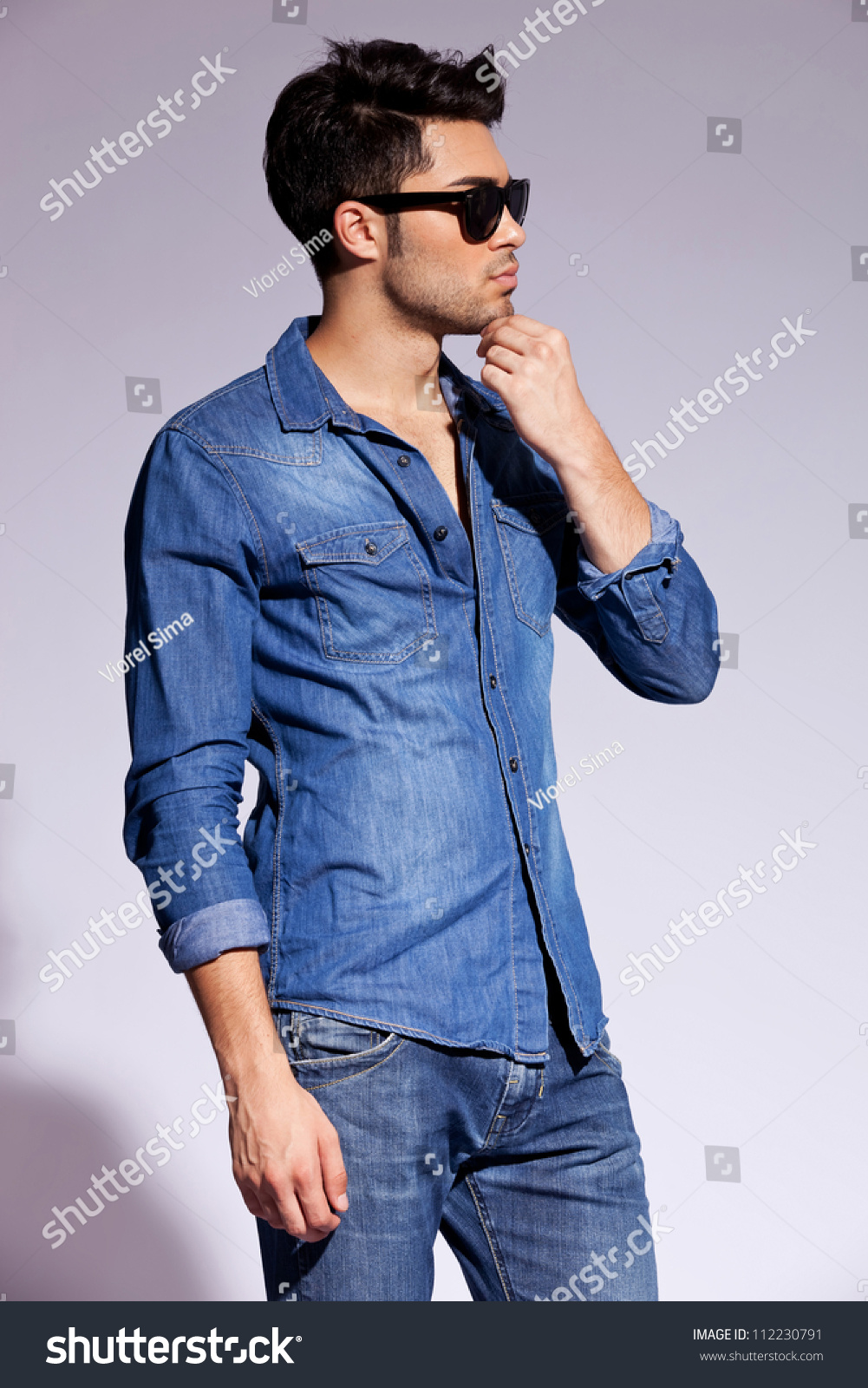 Studio Side View Handsome Young Male Stock Photo 112230791 ...
