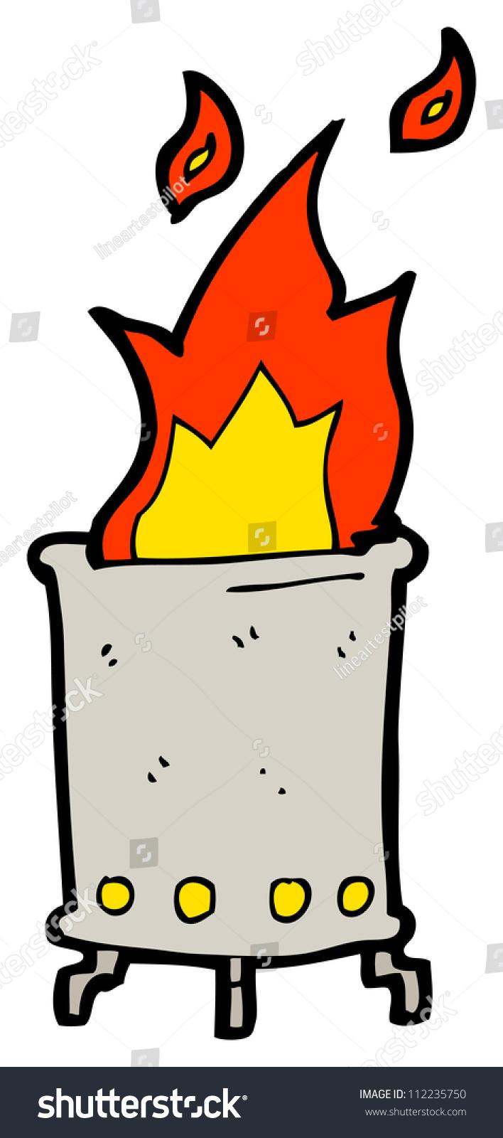 Cartoon Flaming Garbage Can Stock Illustration 112235750 ...
