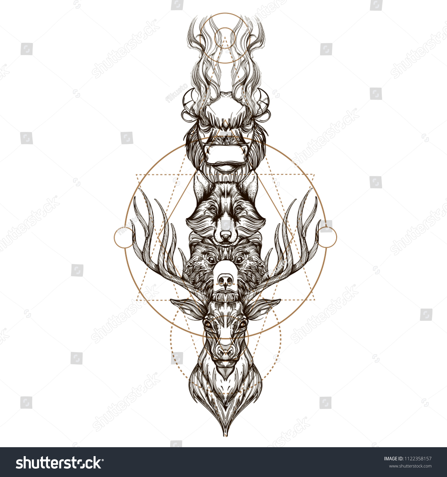 Totem Deer Bear Wolf Buffalo Outline Stock Vector Royalty Free