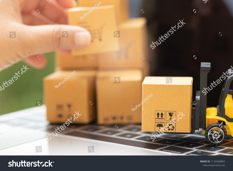 Mini Forklift Truck Load Cardboard Box Stock Photo (Edit Now) 1122440807