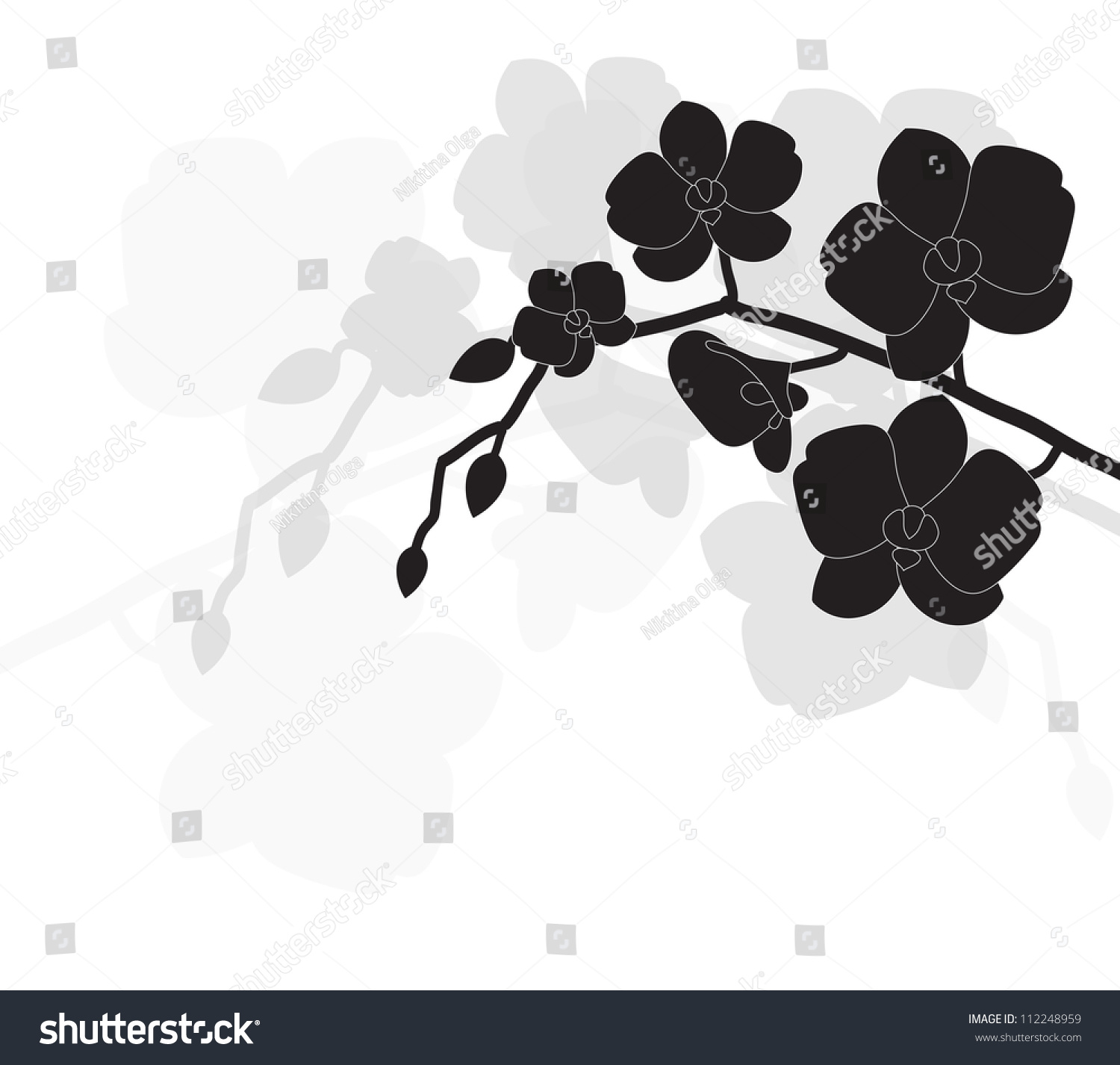 Stylized Black Orchid On White Background Stock Vector 112248959 ...