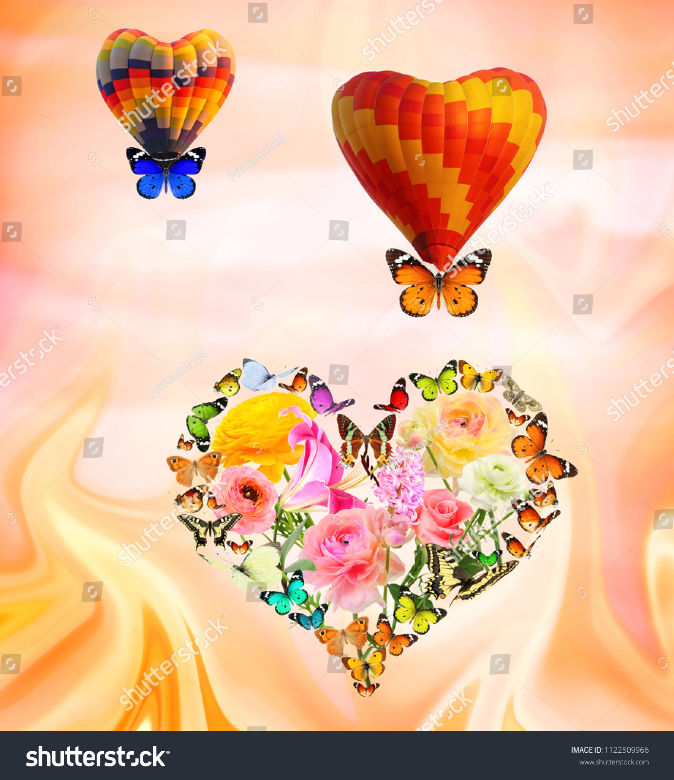 Heart Created Colorful Flowers Butterflies Two Stock Photo Image