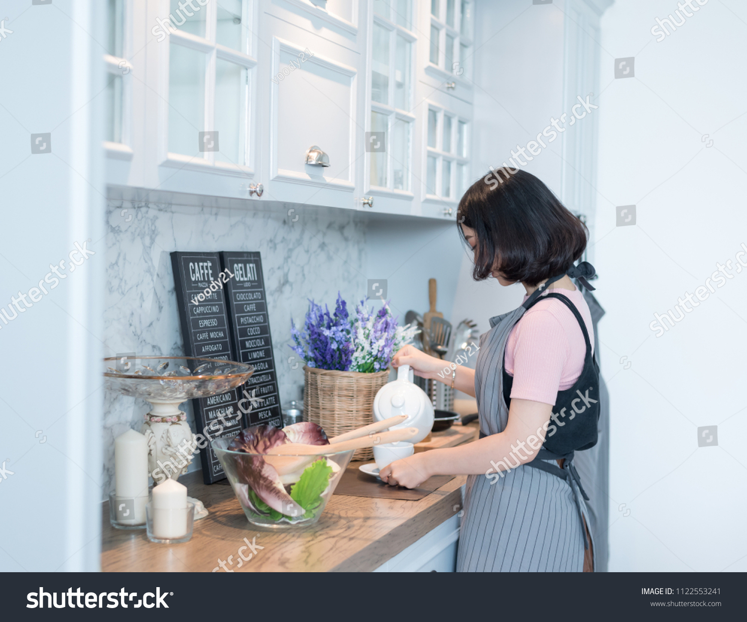 Young Women Cooking Kitchen Family Activities Stock Photo (Royalty ...