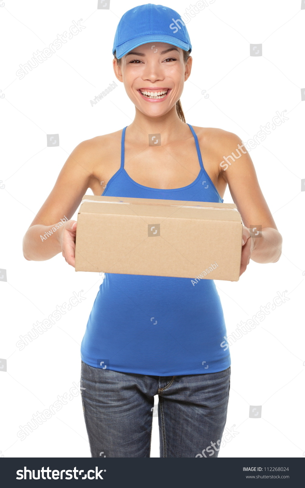 Female Package Delivery Person Giving Packages Stock Photo ...