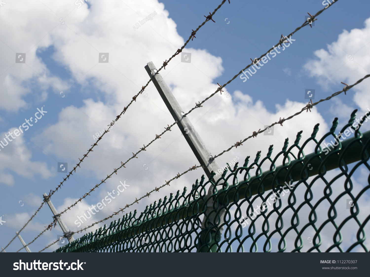Barbed Wire On Top Chain Security Stock Photo (Royalty Free ...