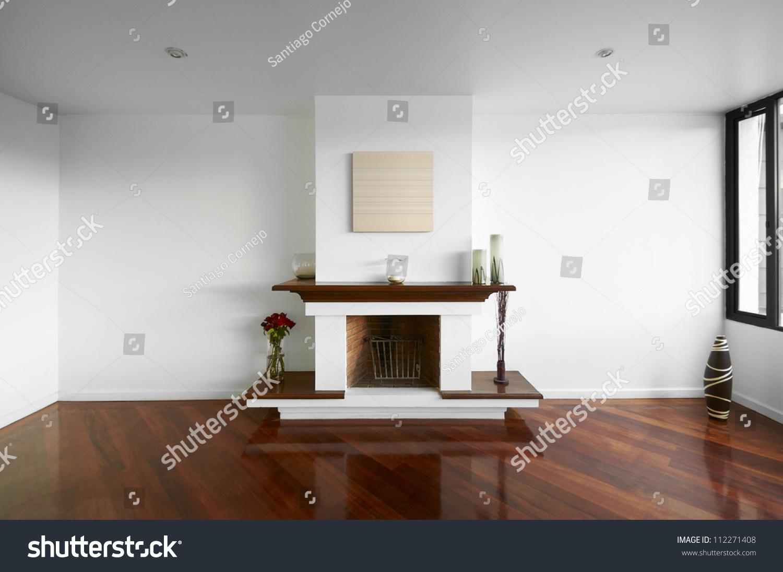 Big Empty Living Room Chimney White Stock Photo 112271408