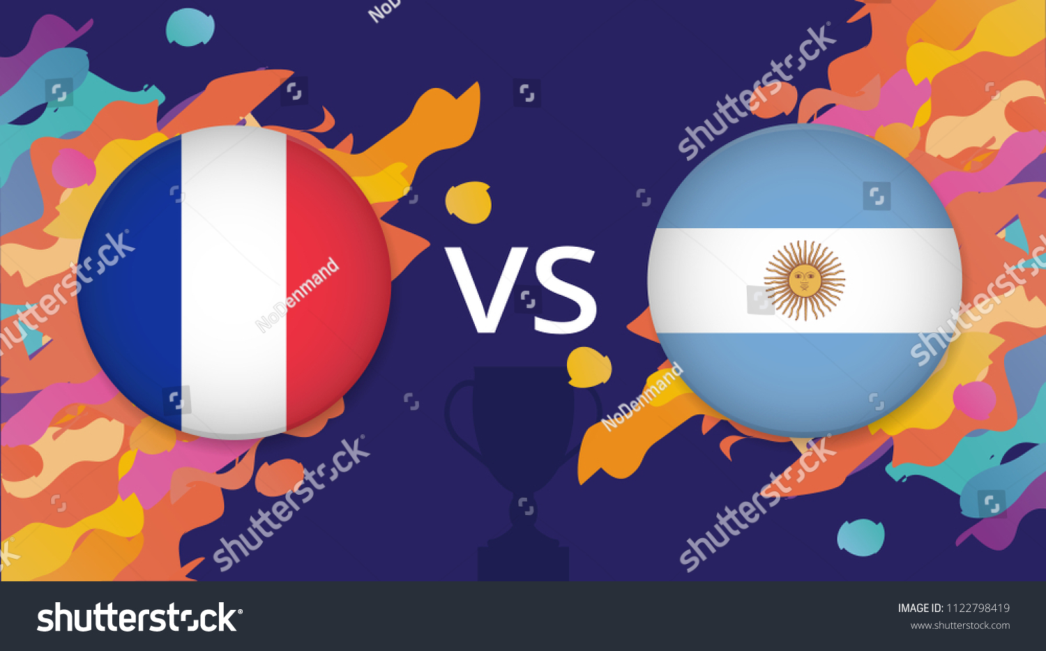 French Argentine Flags Badges France Versus Stock Vector