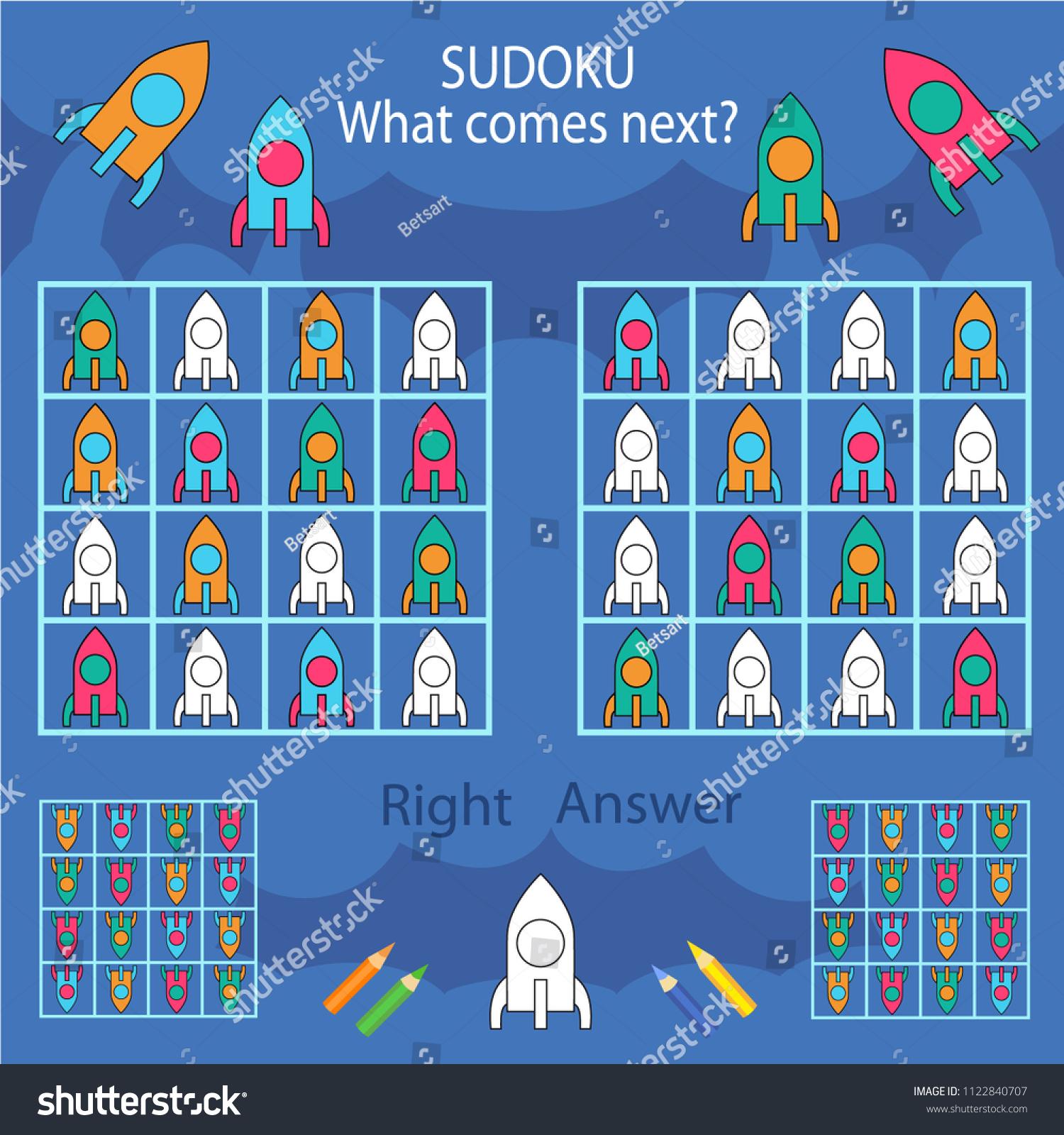 Sudoku Kids Rockets Find Paint Color Stock Photo (Photo, Vector ...