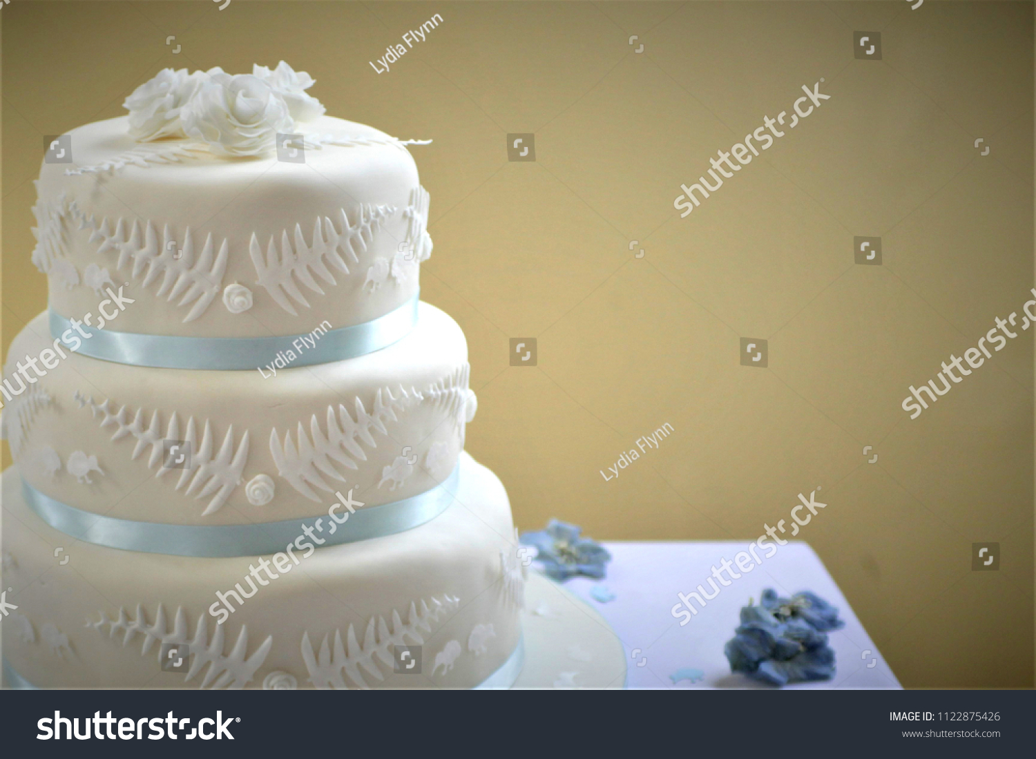 Three Tier Wedding Cake Blue Ribbon Stock Photo Edit Now