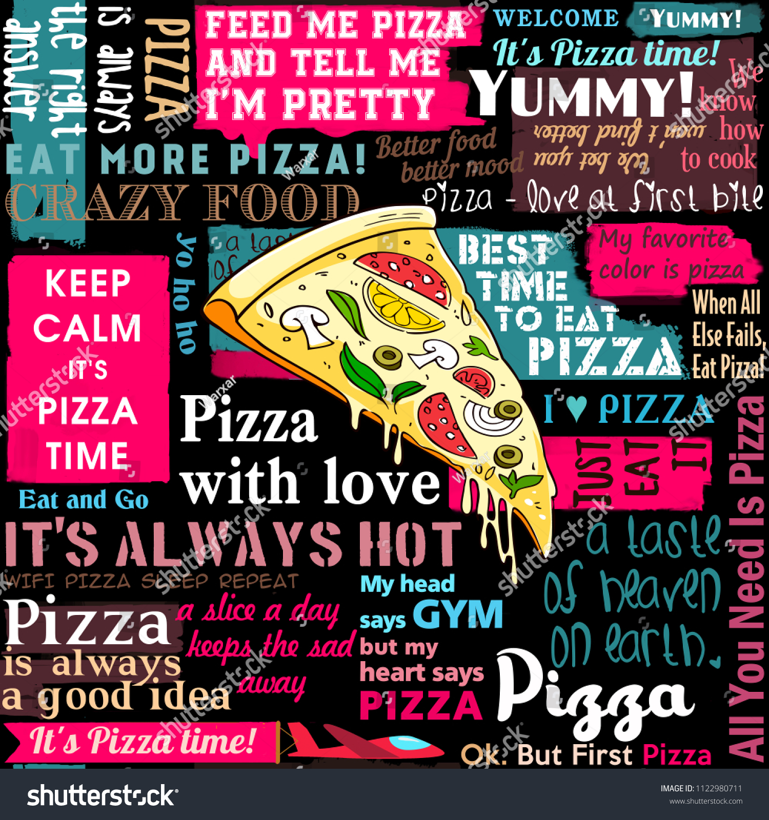 Pizza Slice Pizza Coffee Shop Sayings Stock Illustration Royalty