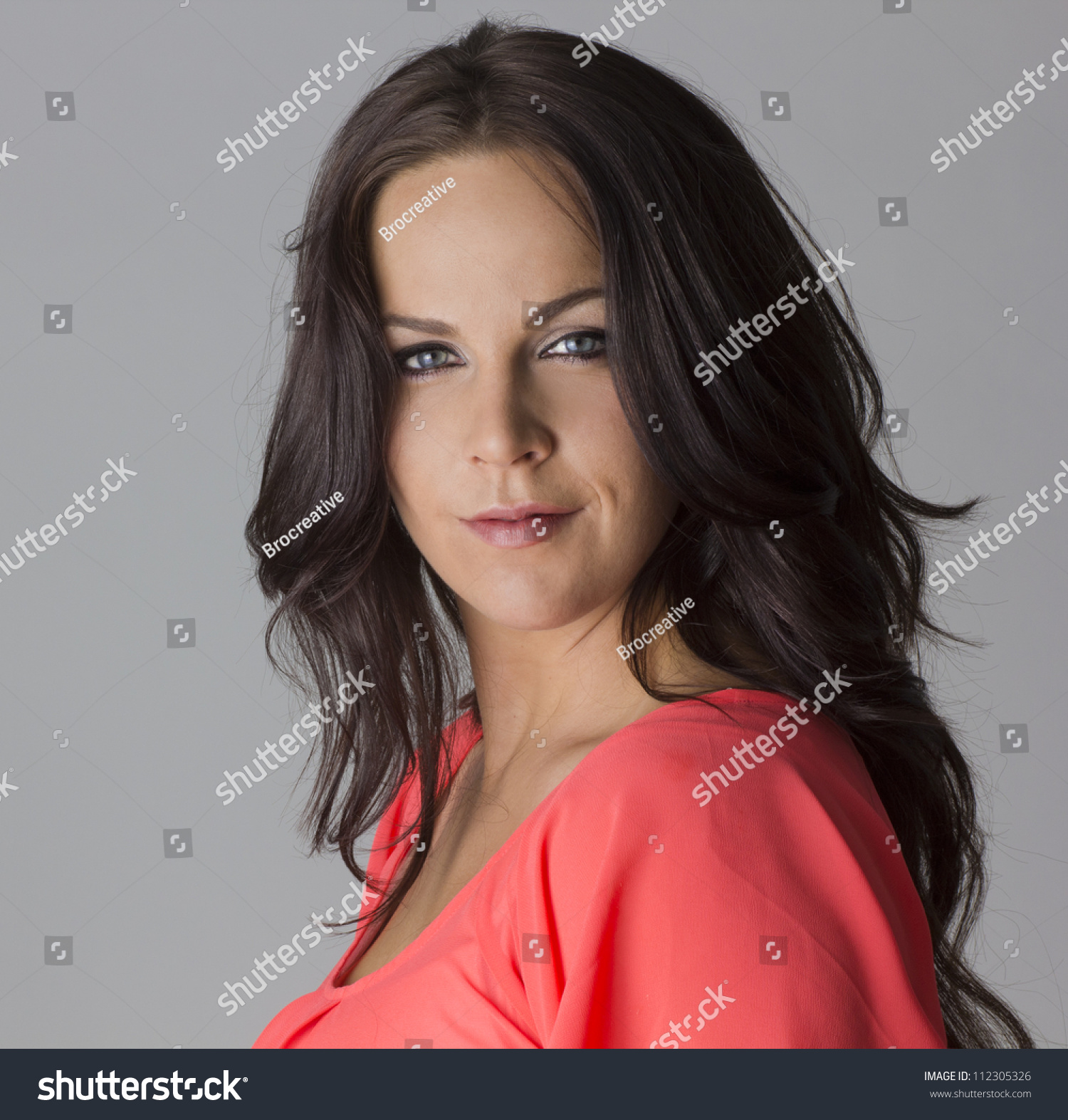 beautiful dark haired mature female model stock photo (royalty free