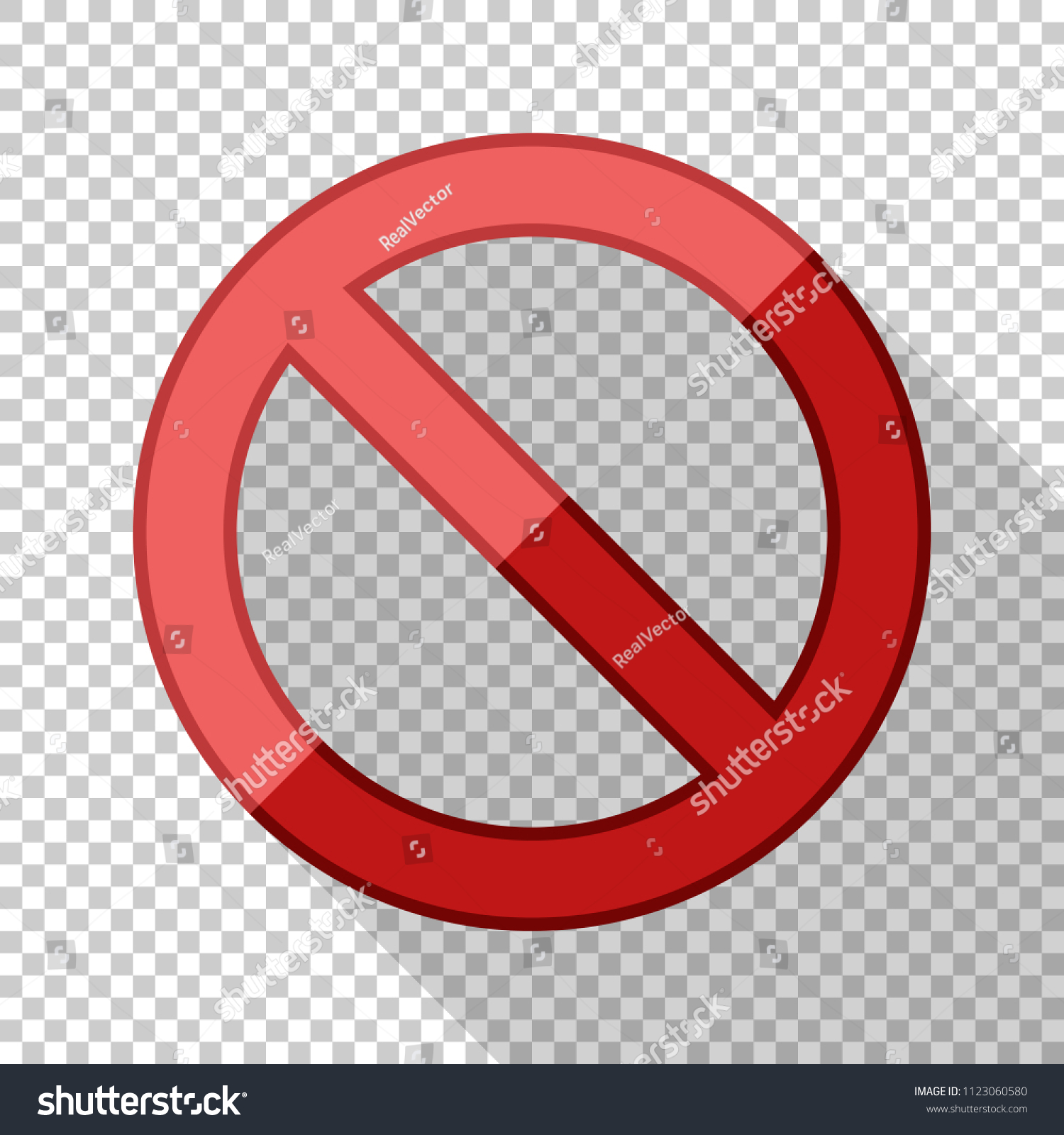 No Sign Flat Style Long Shadow Stock Vector (Royalty Free