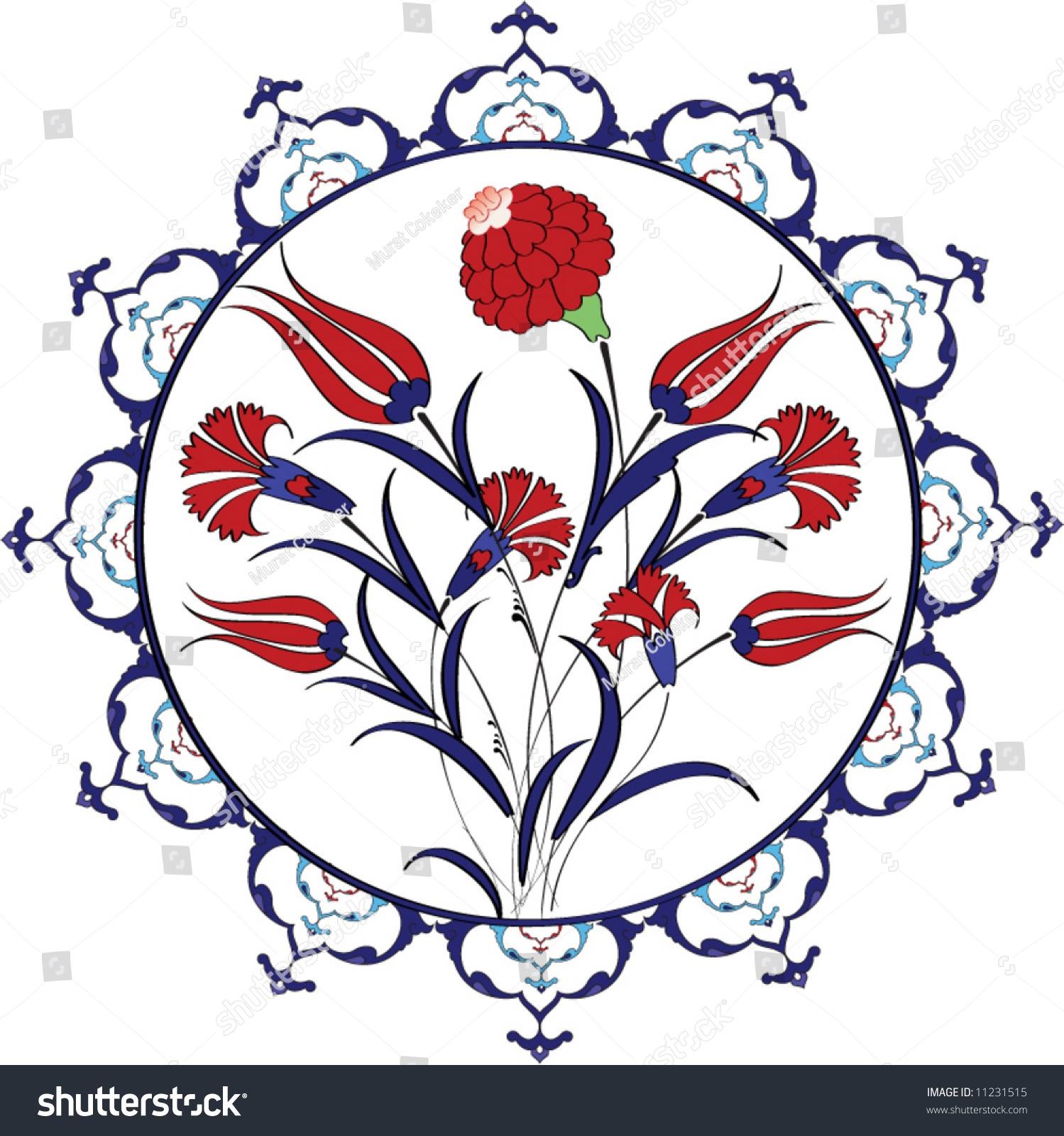 Traditional Turkish Ottoman Red Flower Home Decor Mosaic: Traditional Vintage Ottoman Turkey Turkish Tulip Stock