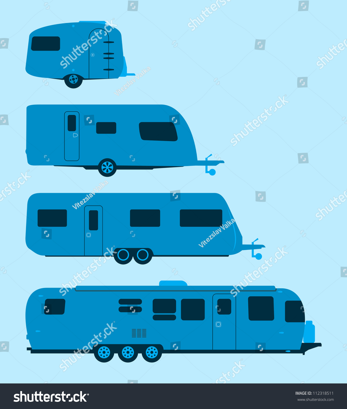 Caravan Silhouette Several Mobile Homes Illustration Stock Vector
