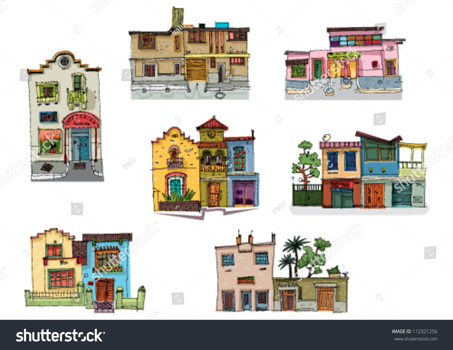 Mexico City Facades Cartoon Set Stock Vector 112321256 - Shutterstock