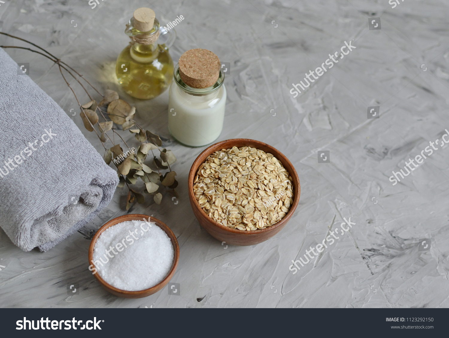 Natural Ingredients for Homemade Oatmeal Milk Body Face Scrub Beauty Concept Organic Healthy Lifestyle