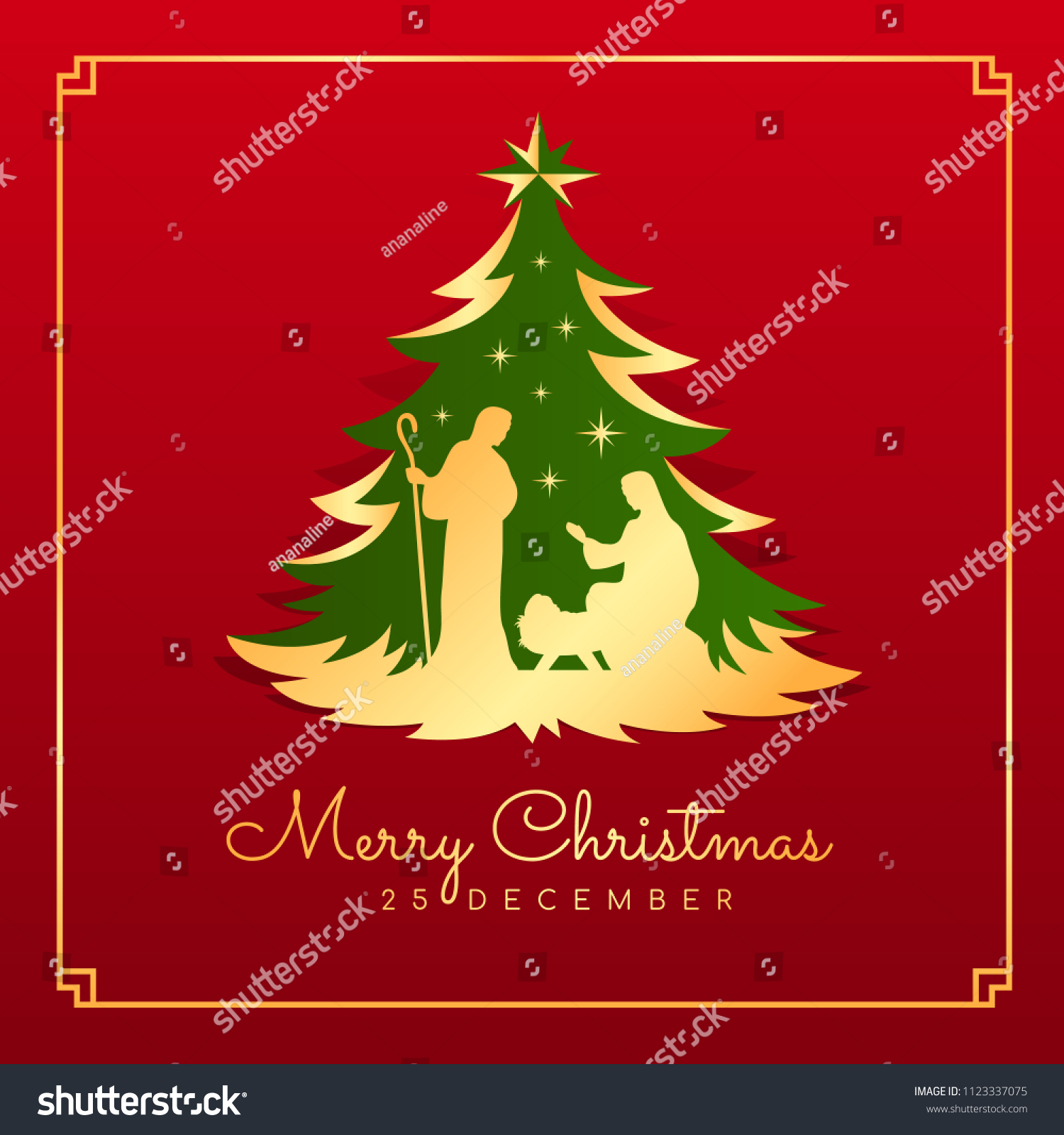 Merry Christmas Banner Card Nightly Christmas Stock Vector Royalty