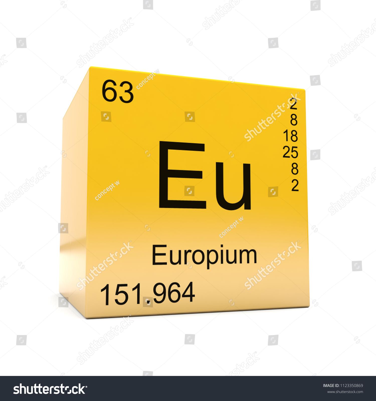 Europium Chemical Element Symbol Periodic Table Stock Illustration