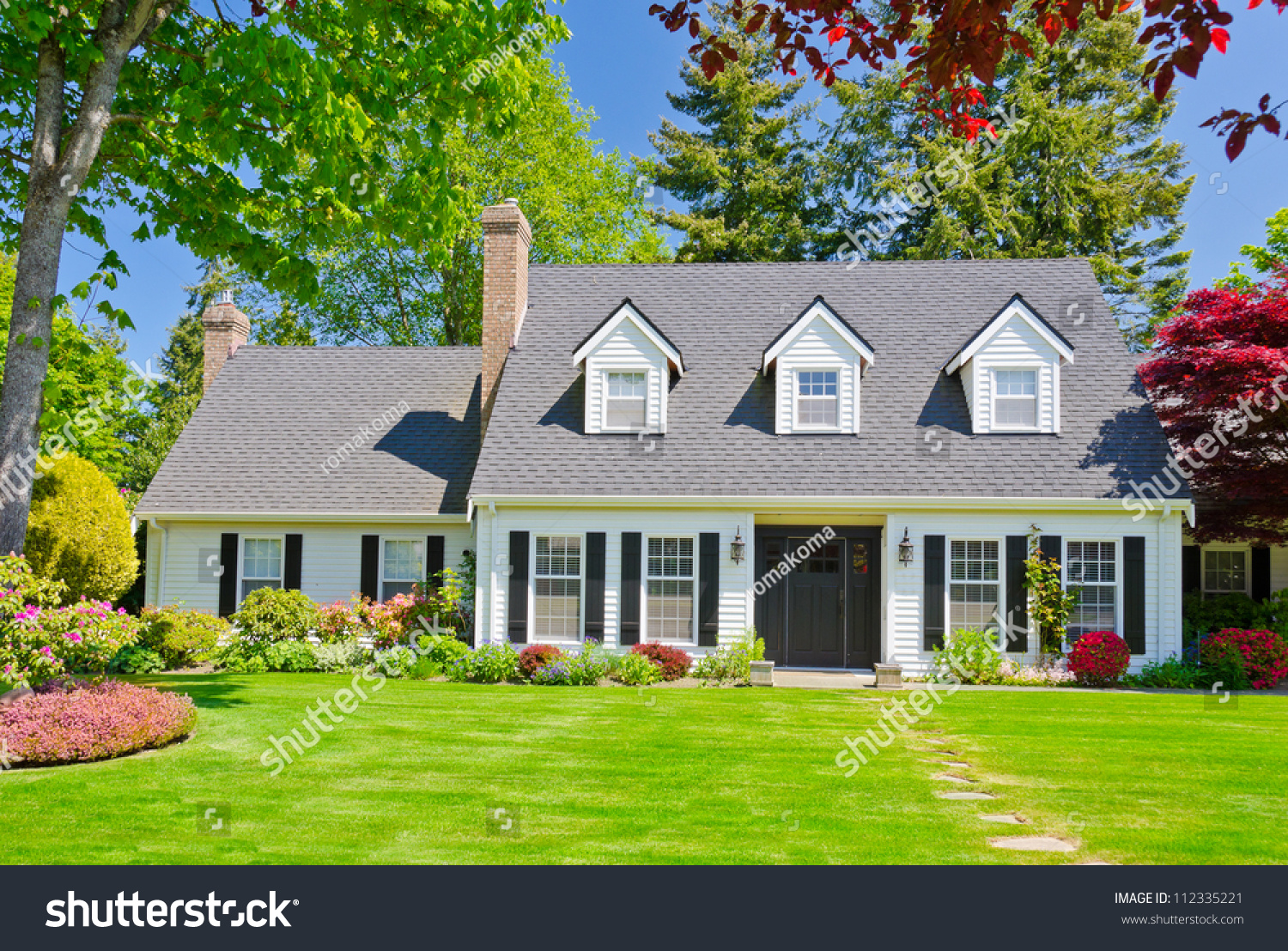 Custom Built Luxury House Nicely Trimmed Stock Photo