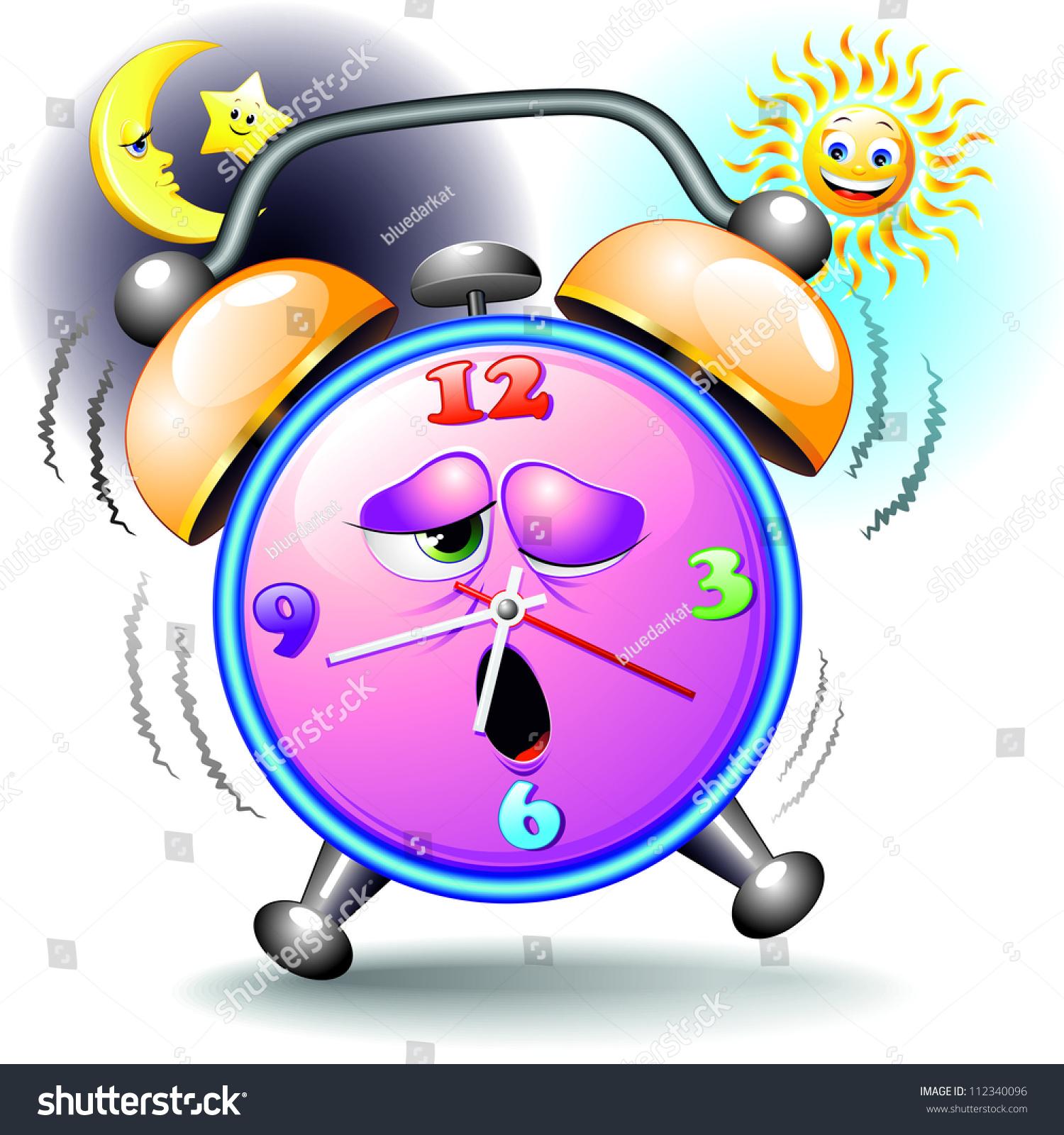 Alarm Clock Funny Cartoon Day And Night Stock Photo
