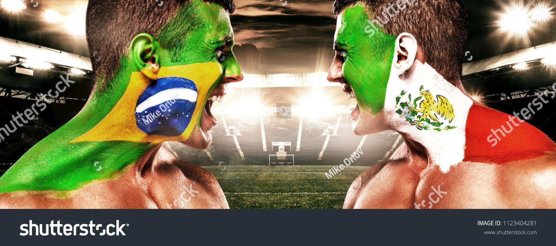 Soccer Football Fan Bodyart On Face Stock Photo Edit Now 1123404281