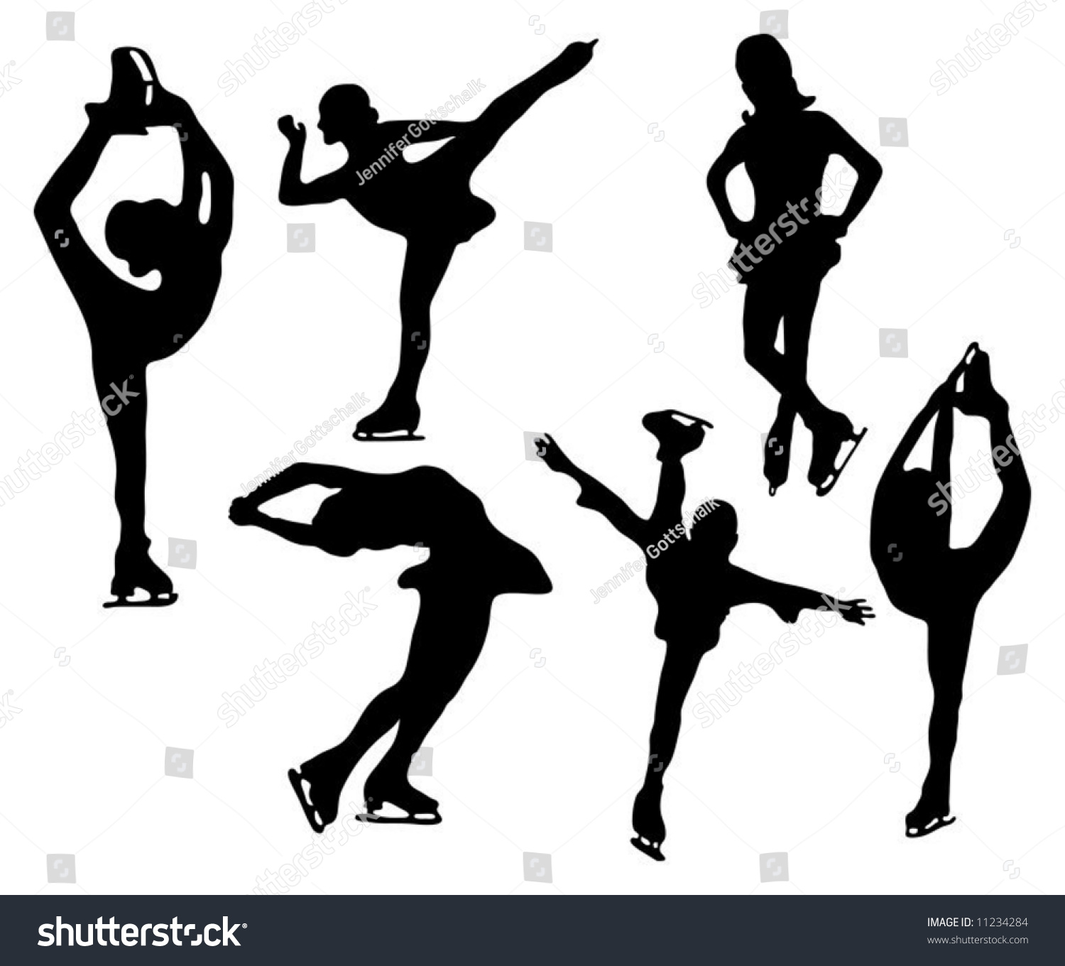 series figure skater silhouettes various positions stock vector 11234284 shutterstock figure skating clip art figure skating clipart free