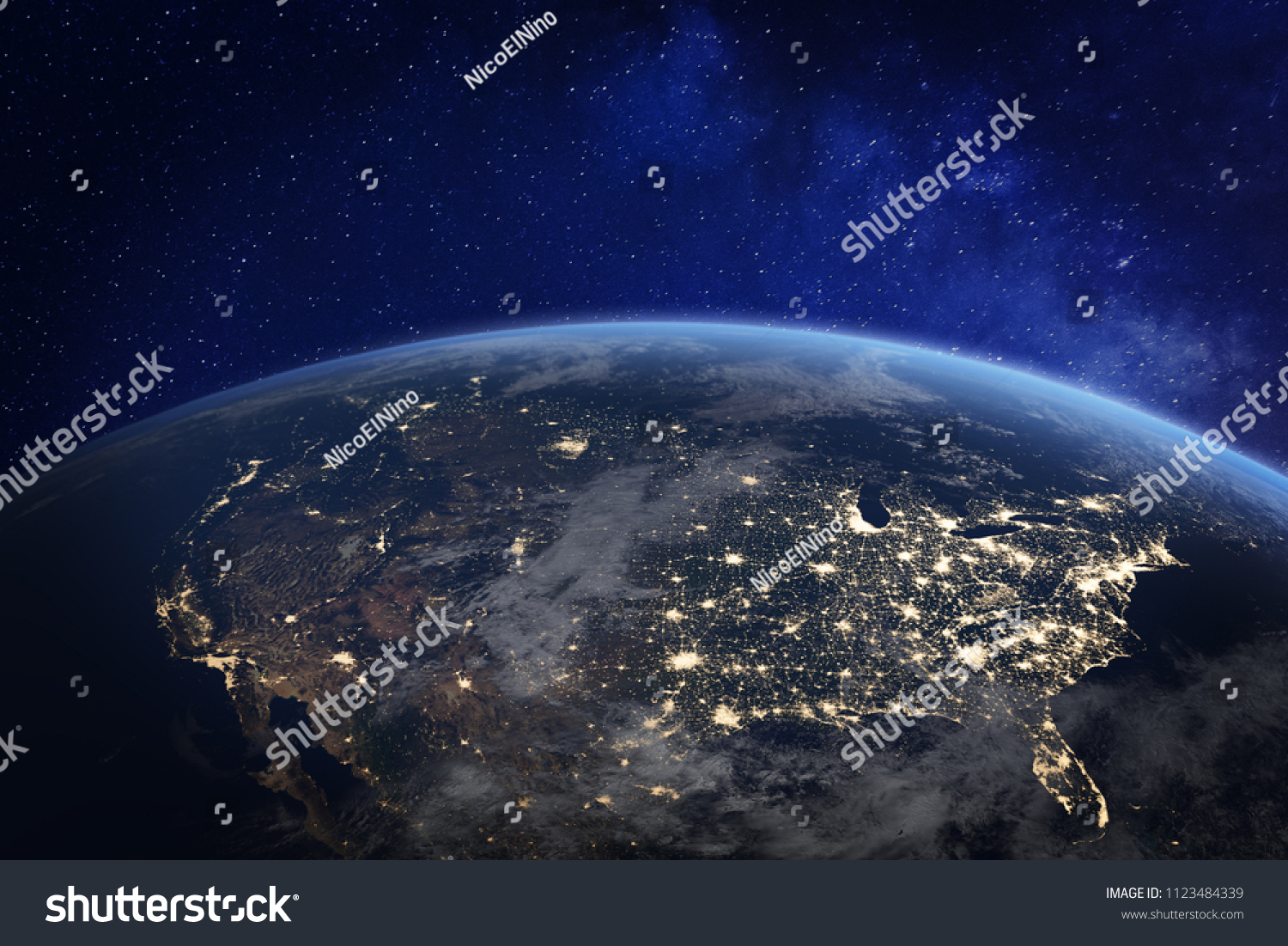 USA and North America from space at night with city lights showing human activity in United States, Canada and Mexico, New York, California, 3d rendering of planet Earth, elements from NASA #1123484339