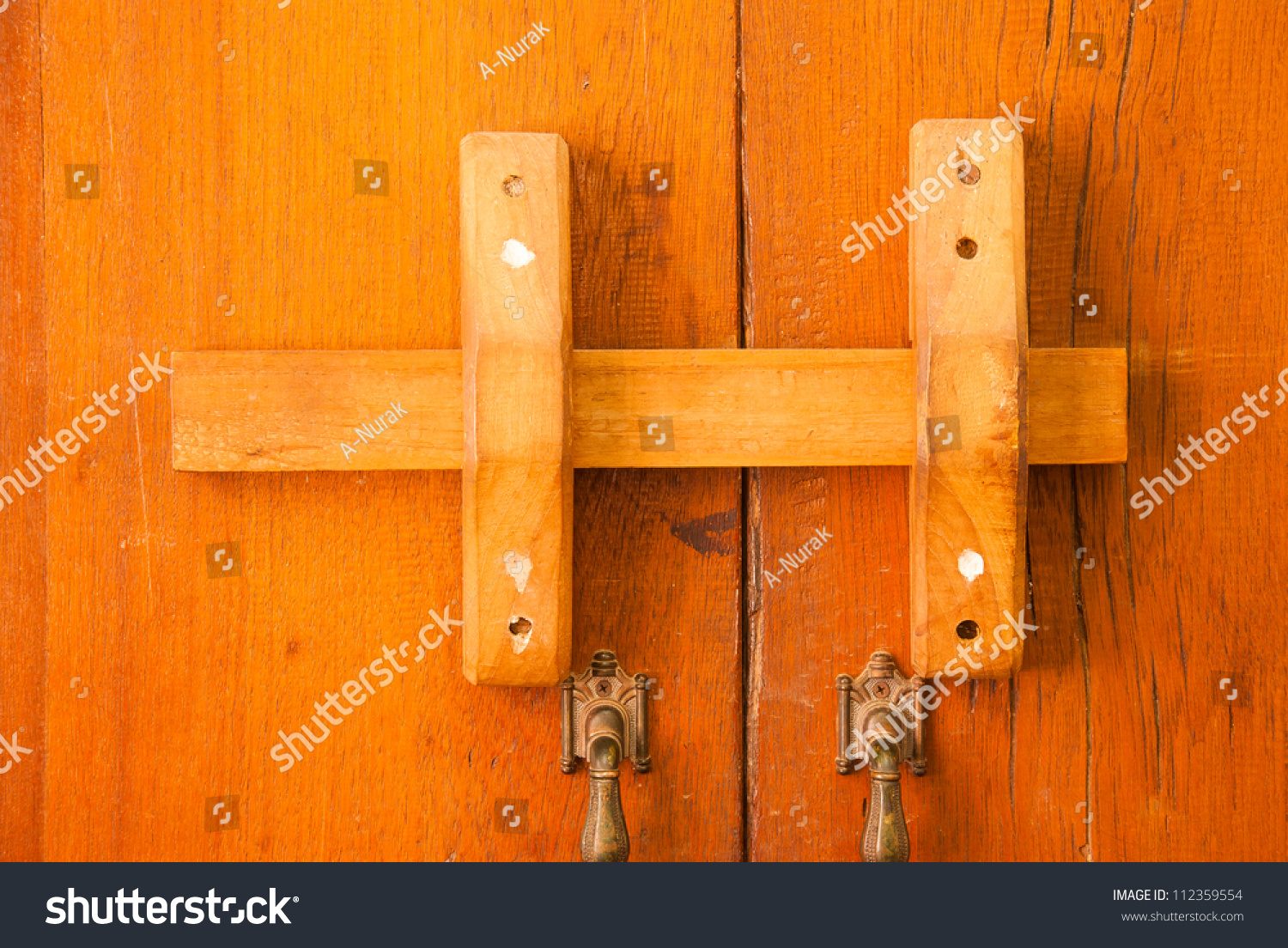 Wooden Door Locks Thai Native Stock Photo 112359554