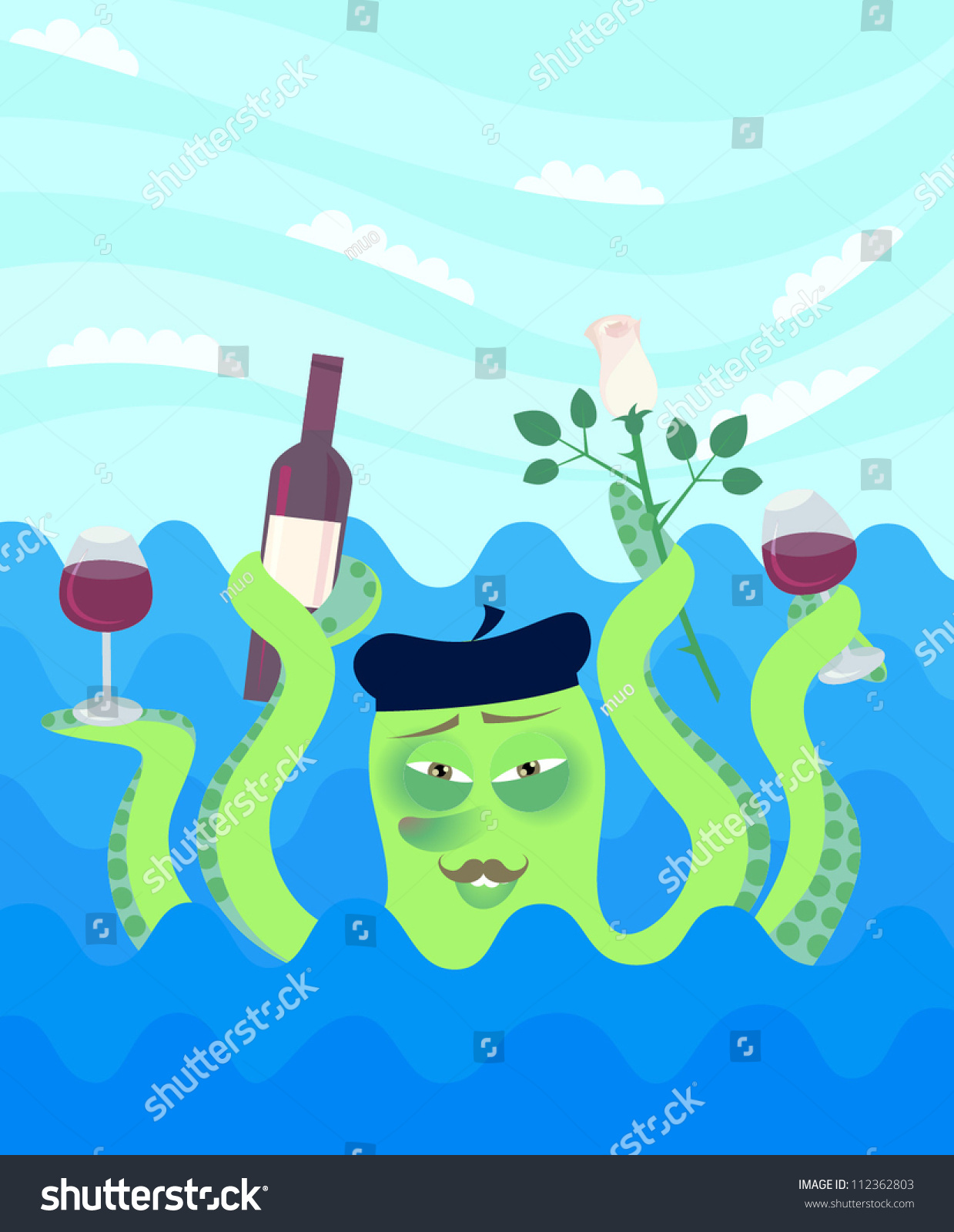cartoon octopus hold tentacles bottle wine stock vector 112362803
