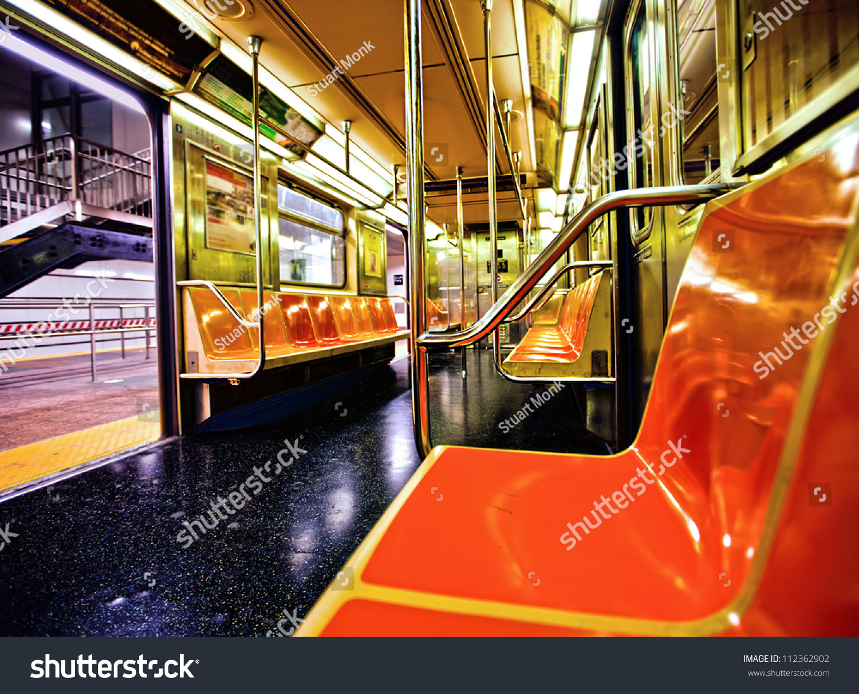 new york subway car interior open stock photo 112362902 shutterstock. Black Bedroom Furniture Sets. Home Design Ideas