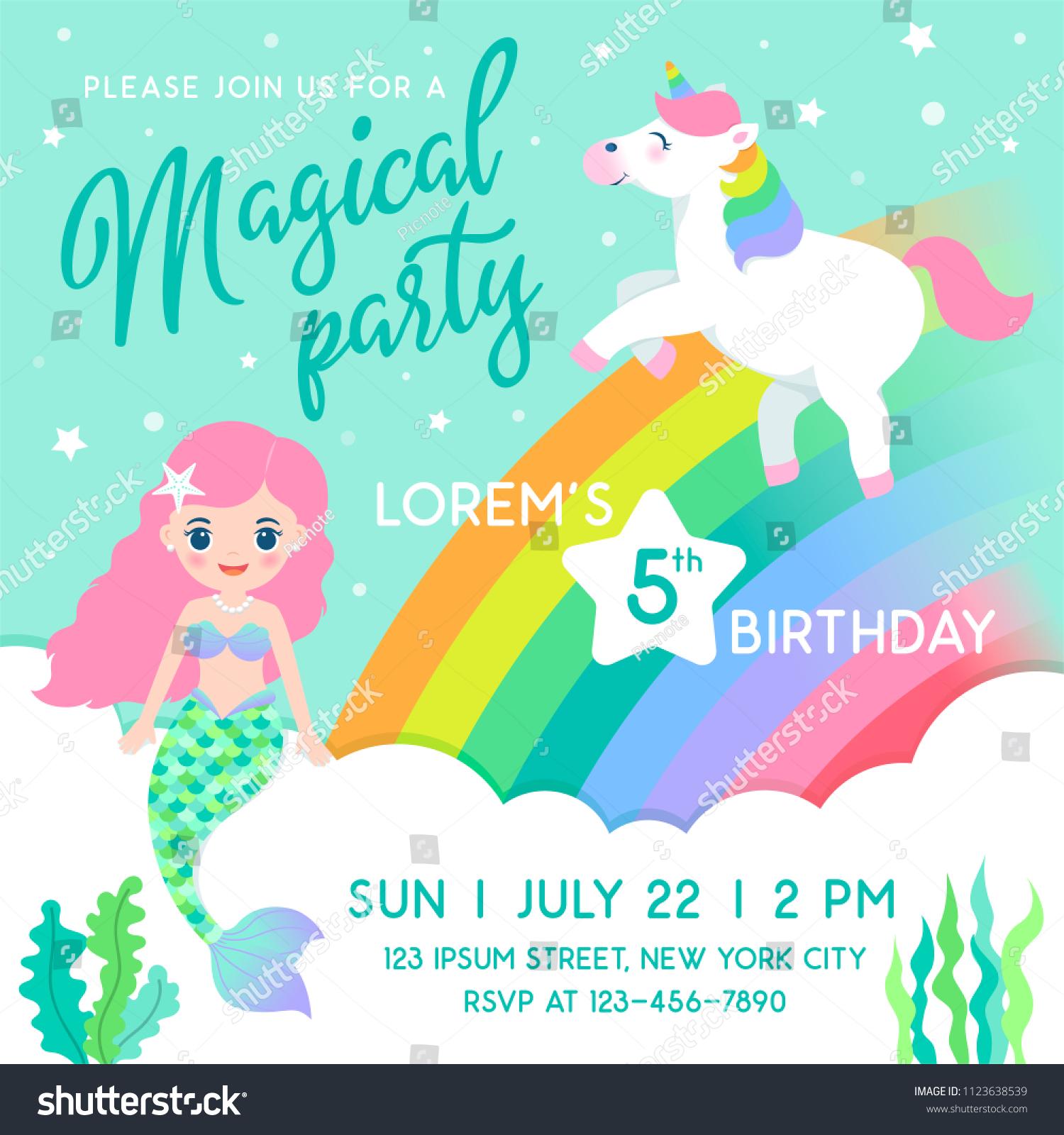 mermaid unicorn cartoon illustration rainbow background stock vector