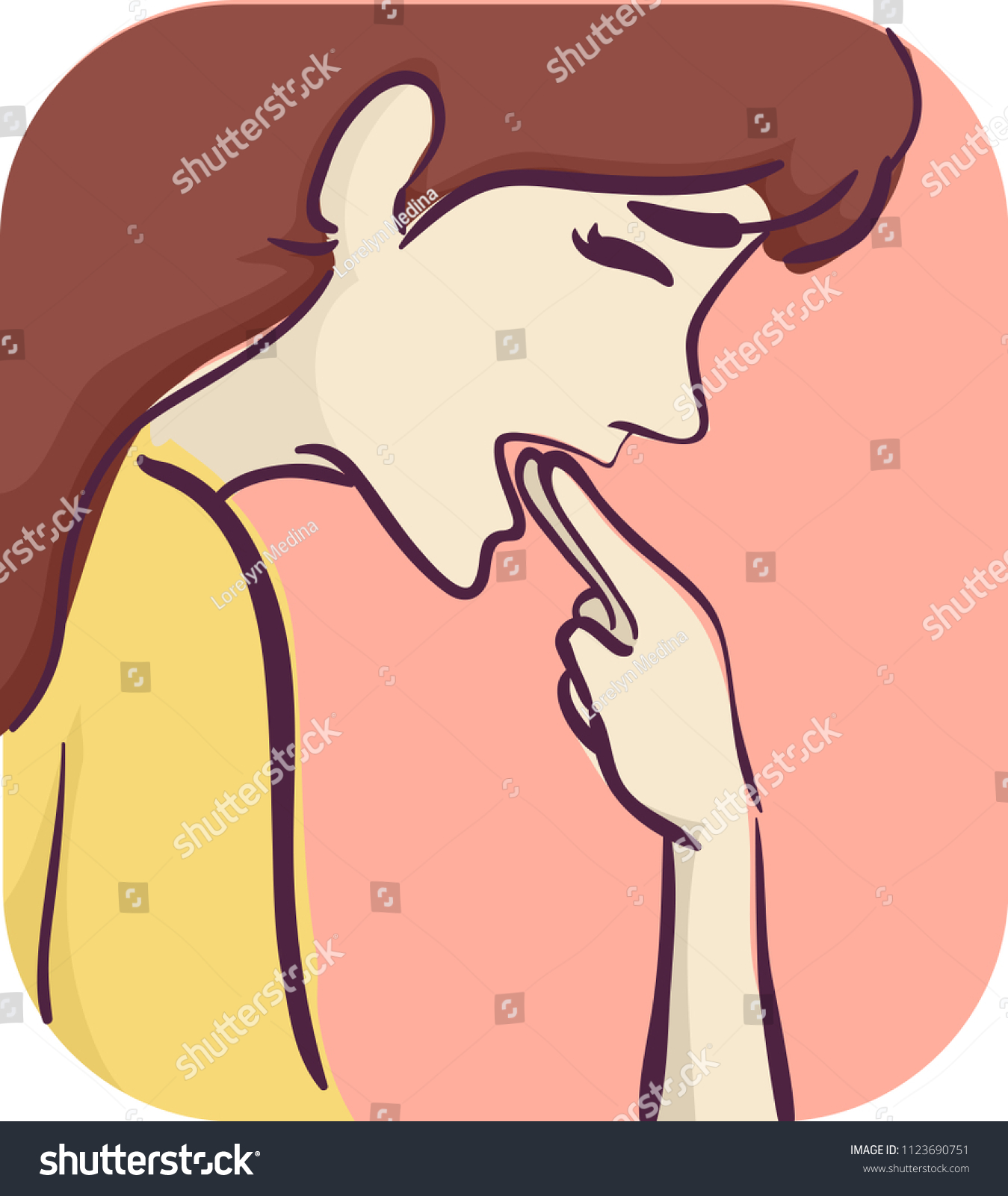 Illustration of a Girl Sticking Fingers Down the Throat to Force Vomiting