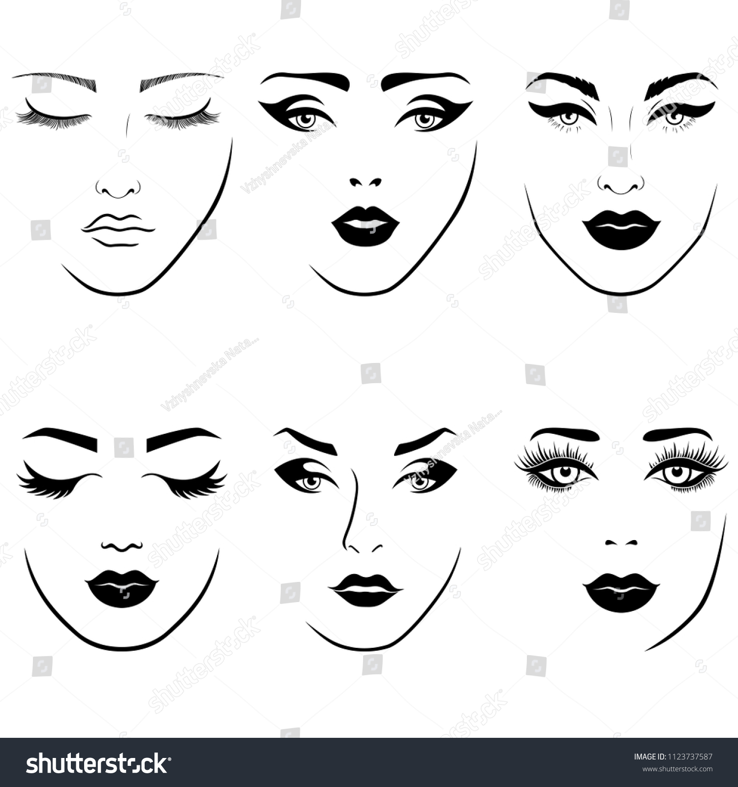 Set of fashionable stylized womens faces with distinctive eyes and lips vector illustration as face