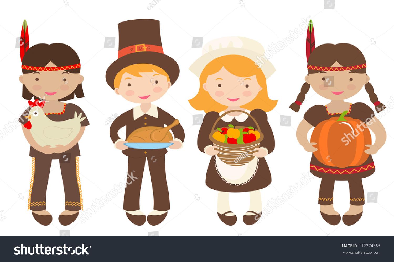 Group Kids Indians Pilgrims Sharing Food Royalty Free Stock Image