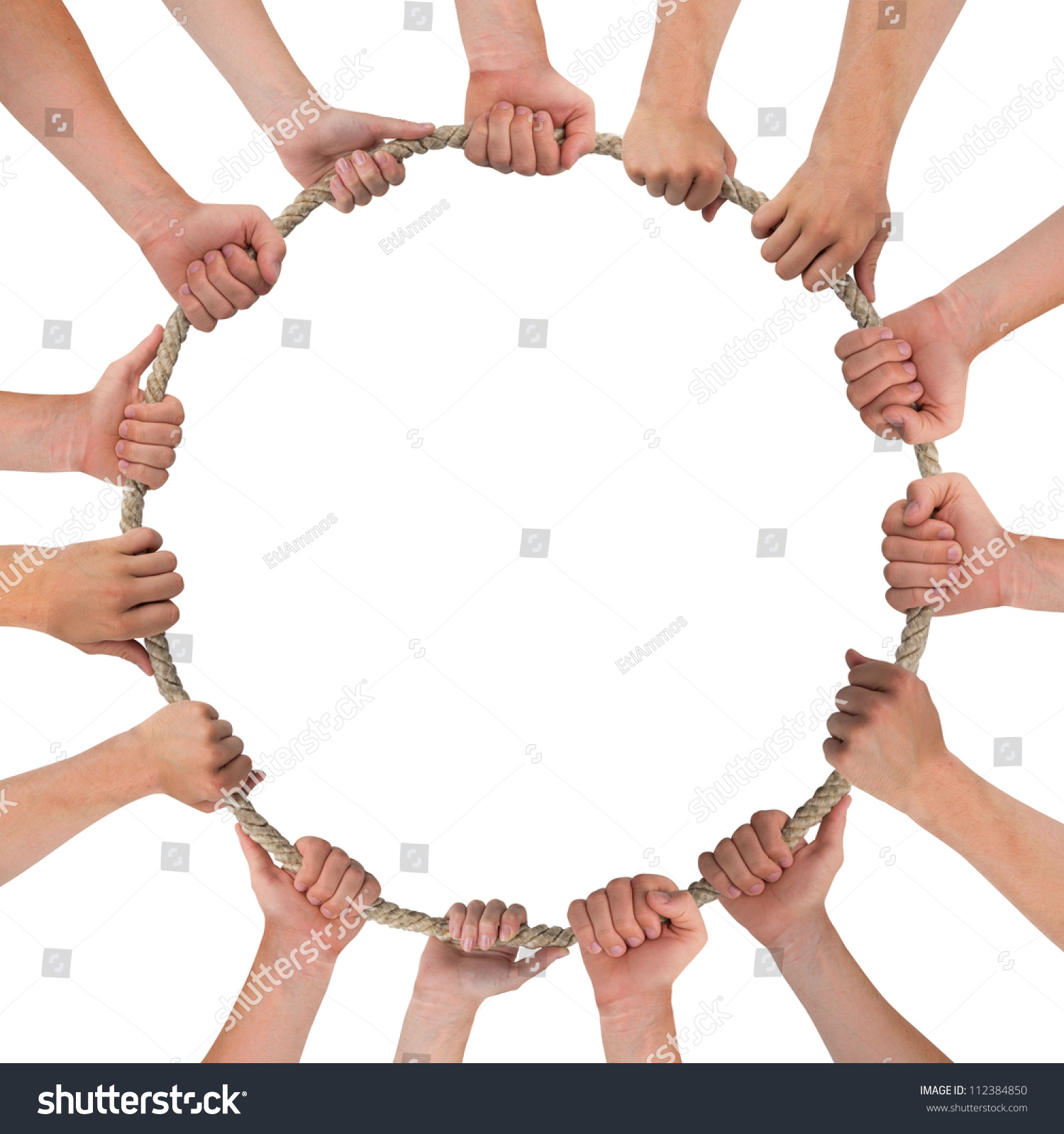 Hands Holding Rope Circle Shape Space Stock Photo ...