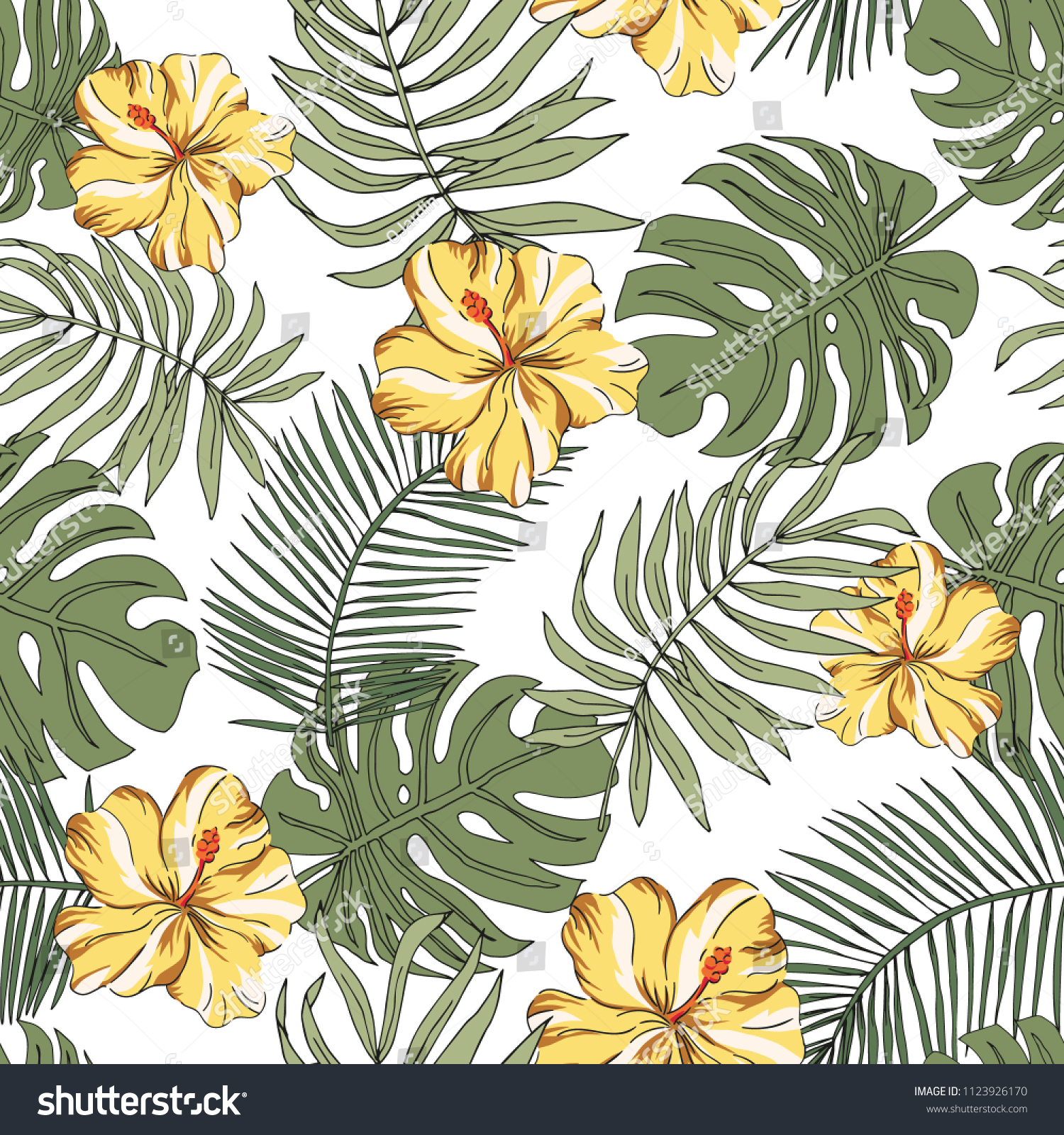 Tropical Yellow Hibiscus Flowers Green Palm Stock Vector Royalty