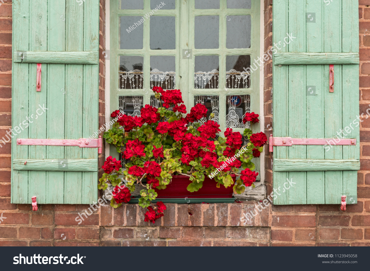 Red Geraniums Blooming Flower Boxes Outside Stock Photo Edit Now