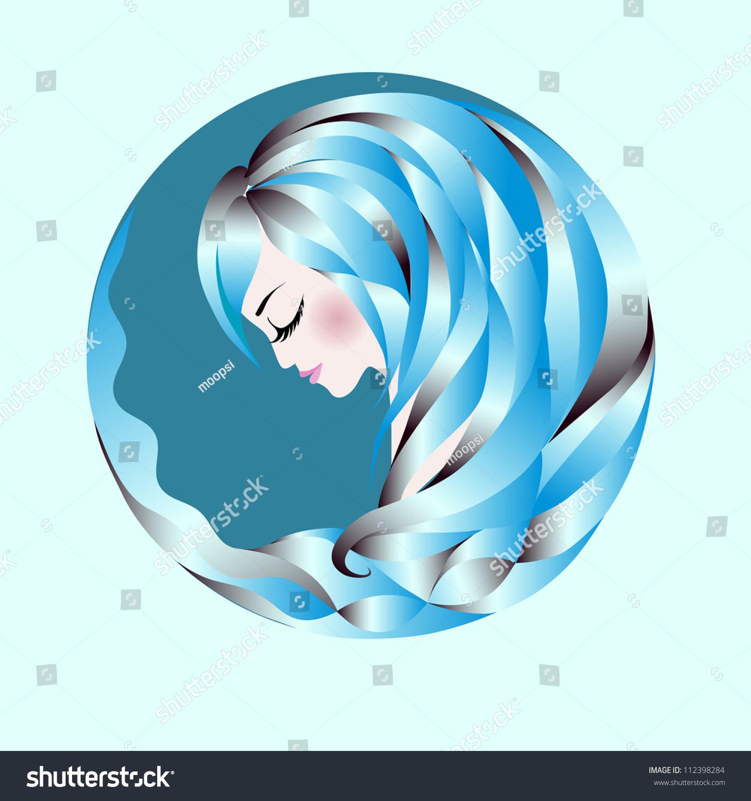 Profile Abstract Woman Blue Wavy Hair Stock Vector