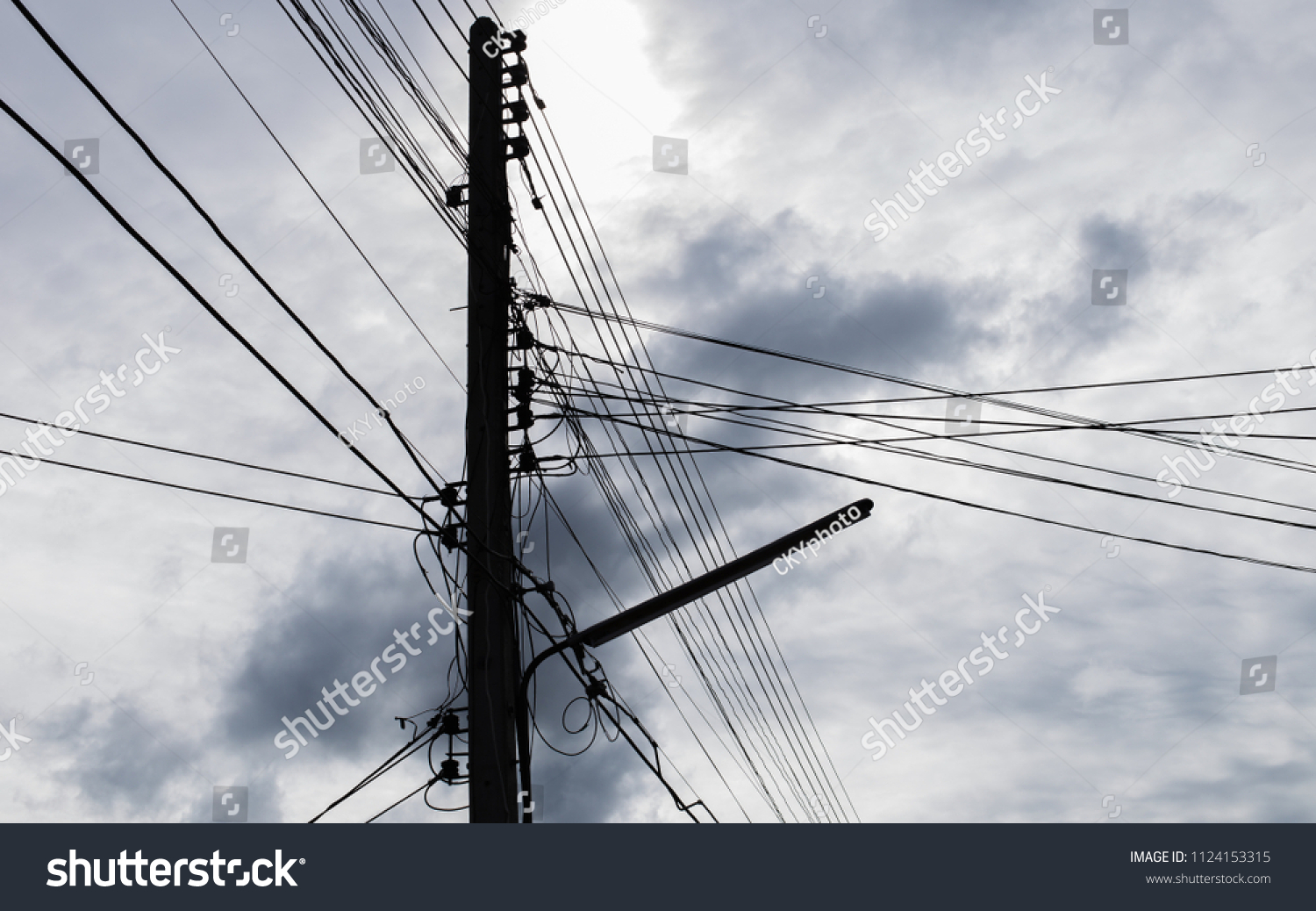 Excellent Old Vintage Messy Concrete Electric Pole Stock Photo Edit Now Wiring Cloud Nuvitbieswglorg
