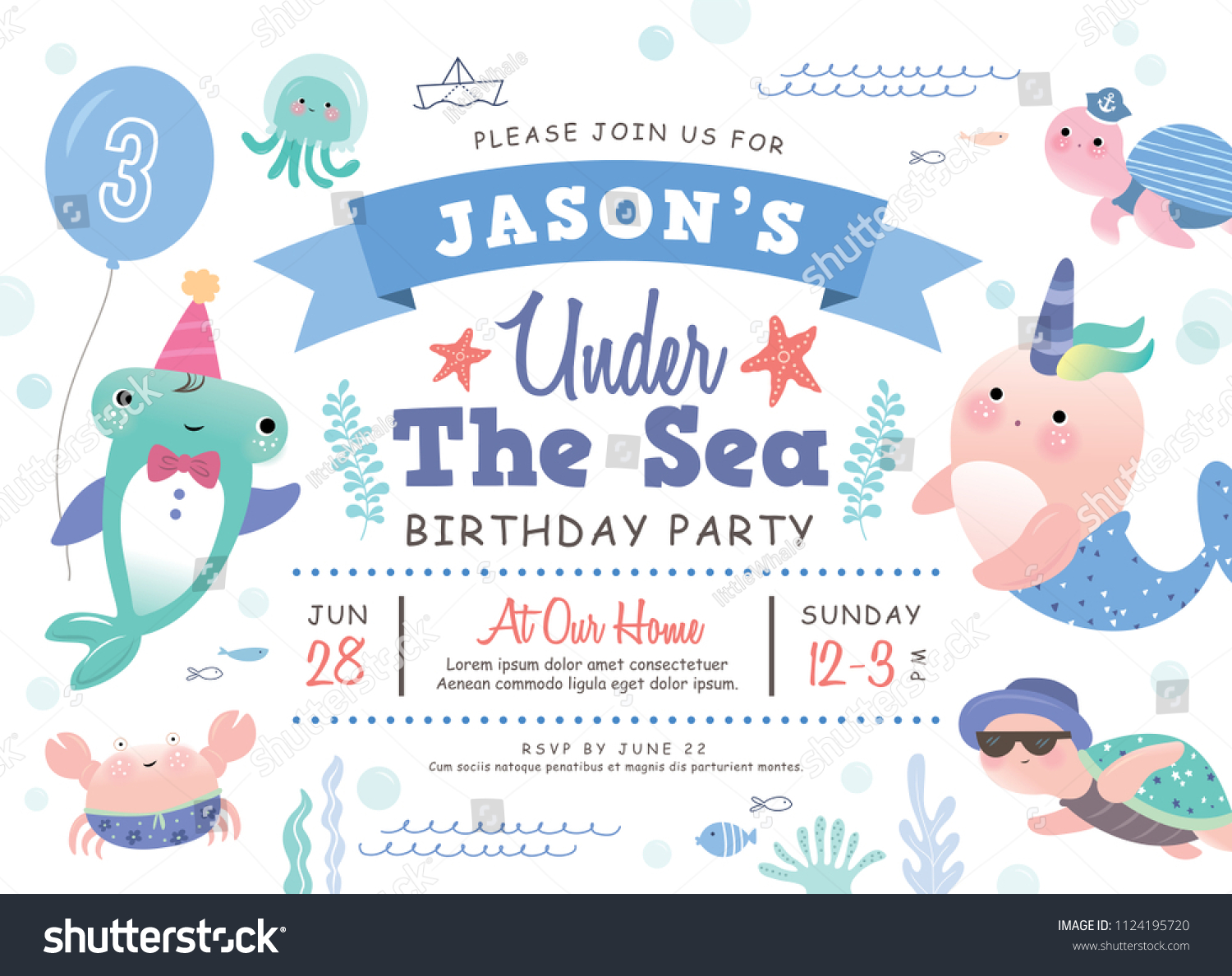Kids Birthday Party Under Sea Theme Stock Photo (Photo, Vector ...