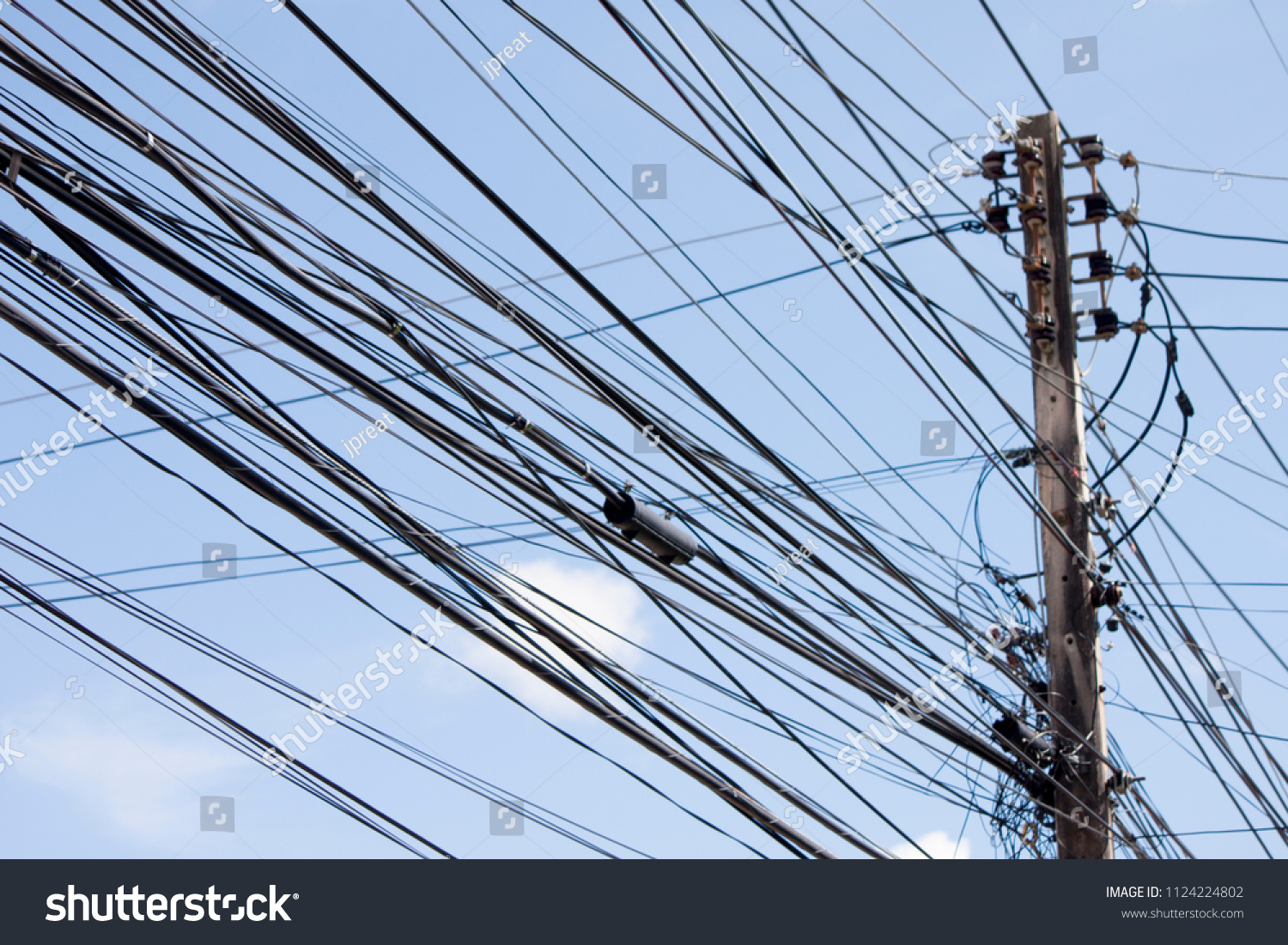 Electrical Wires On Power Poles Made Stock Photo (Royalty Free ...