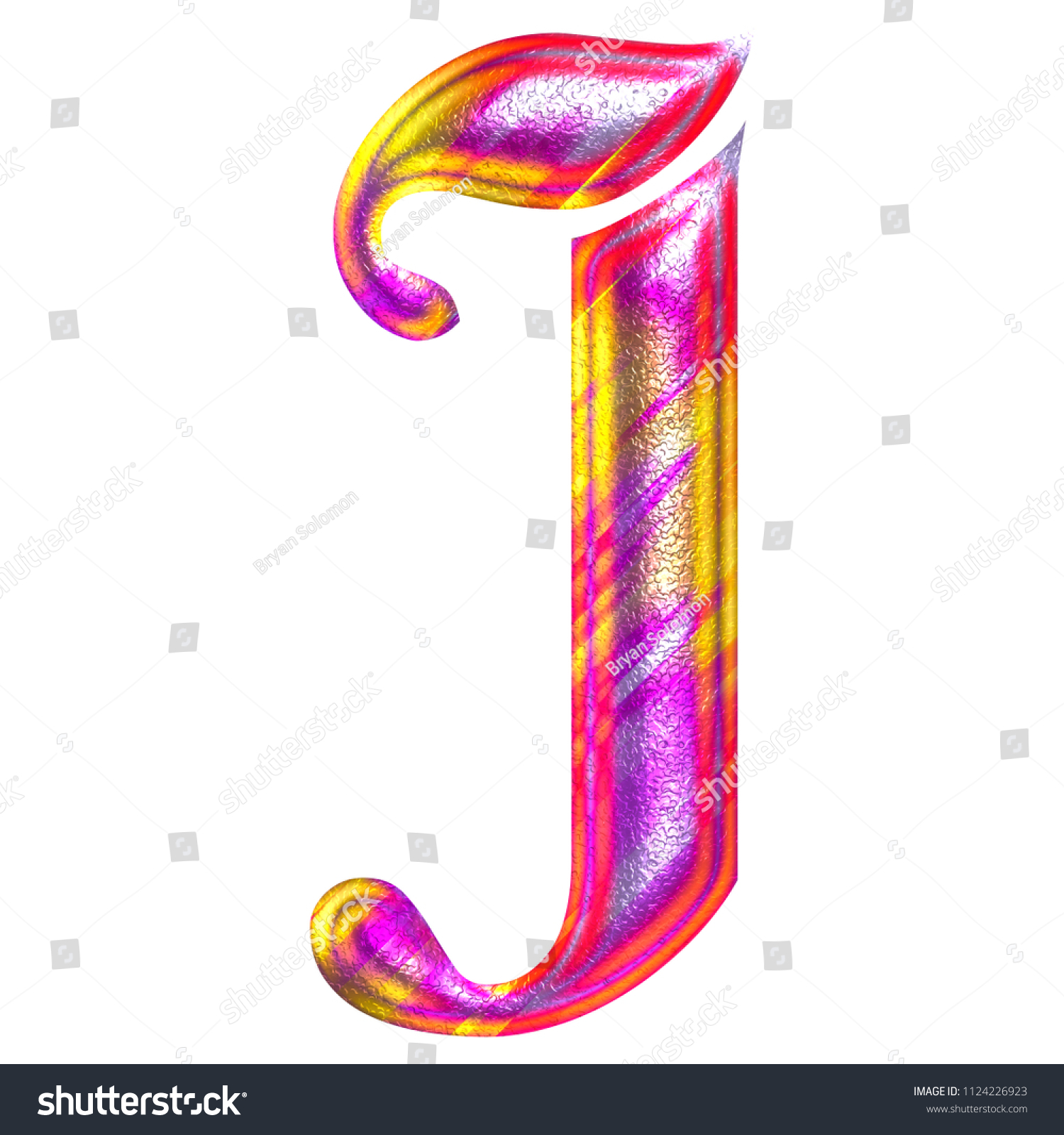 Colorful Pink Yellow Painted Metallic Letter Stock Illustration
